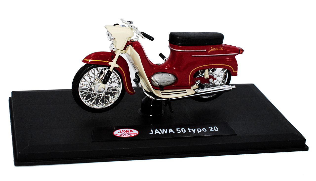 Jawa 50 tipo 20 oscuro rojo 1//18 Abrex modelo motocicleta con o sin individiue...