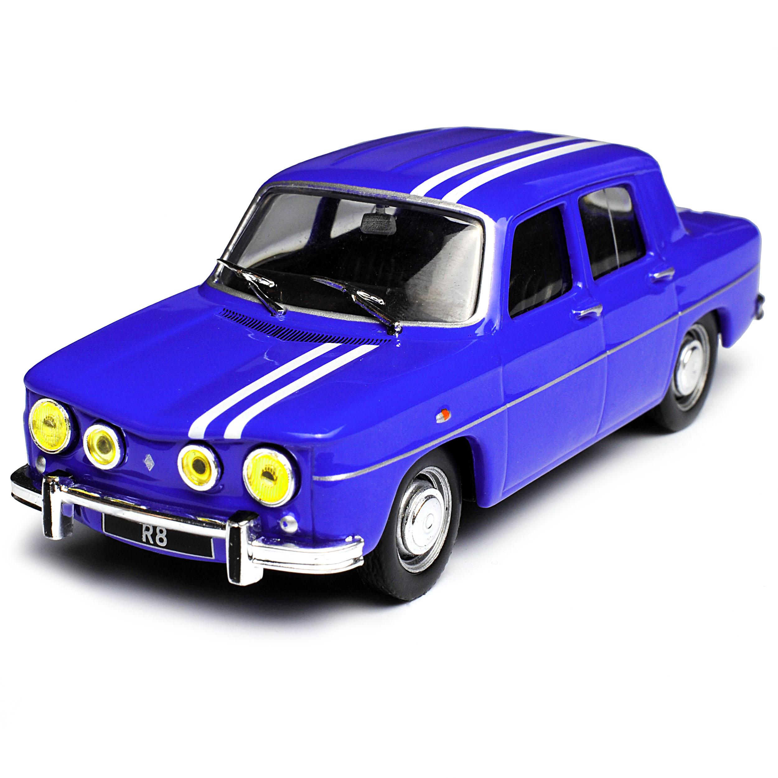 Renault R8 Gordini 1300 Limousine Blau mit Streifen 1962-1973 1//43 Atlas Model..