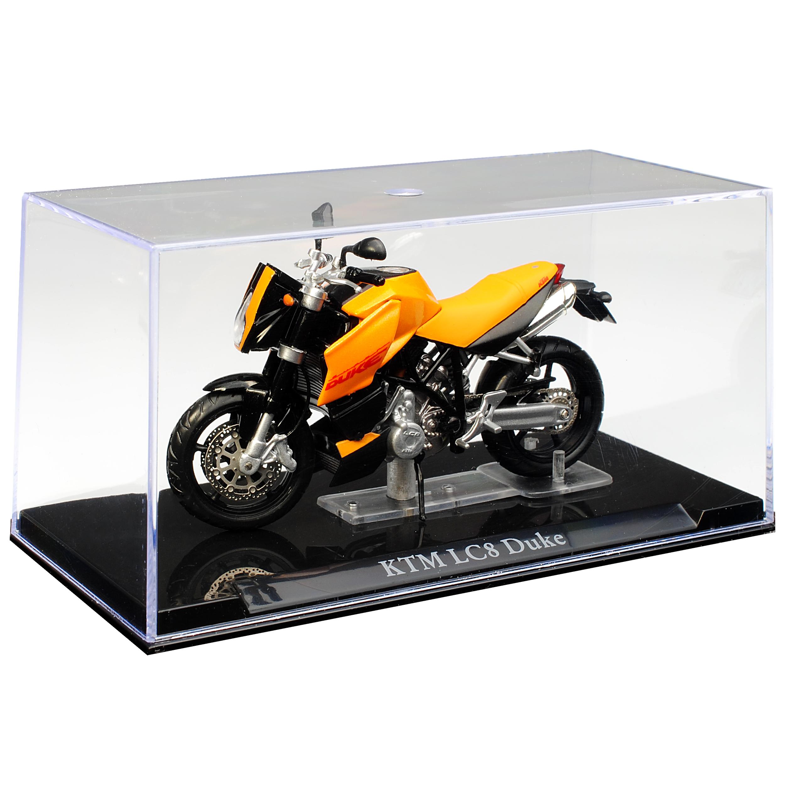 KTM LC8 Duke Orange mit Sockel und Vitrine 1//24 Atlas Modell Motorrad mit oder..