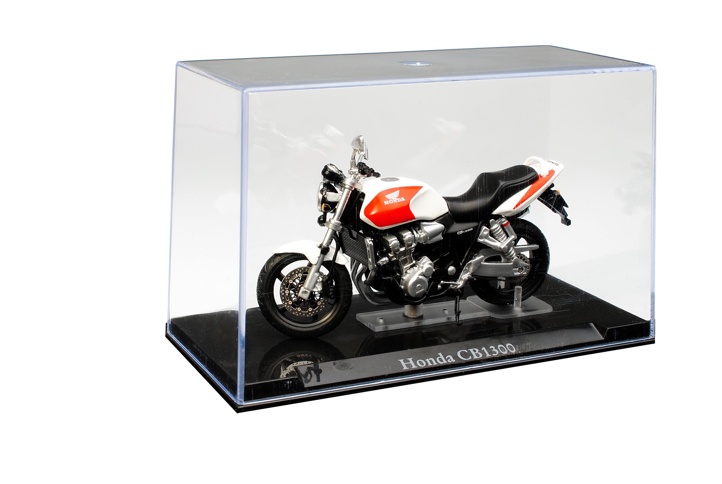 Honda CB1300 Weiss Rot mit Sockel und Vitrine 1//24 Atlas Modell Motorrad mit o..