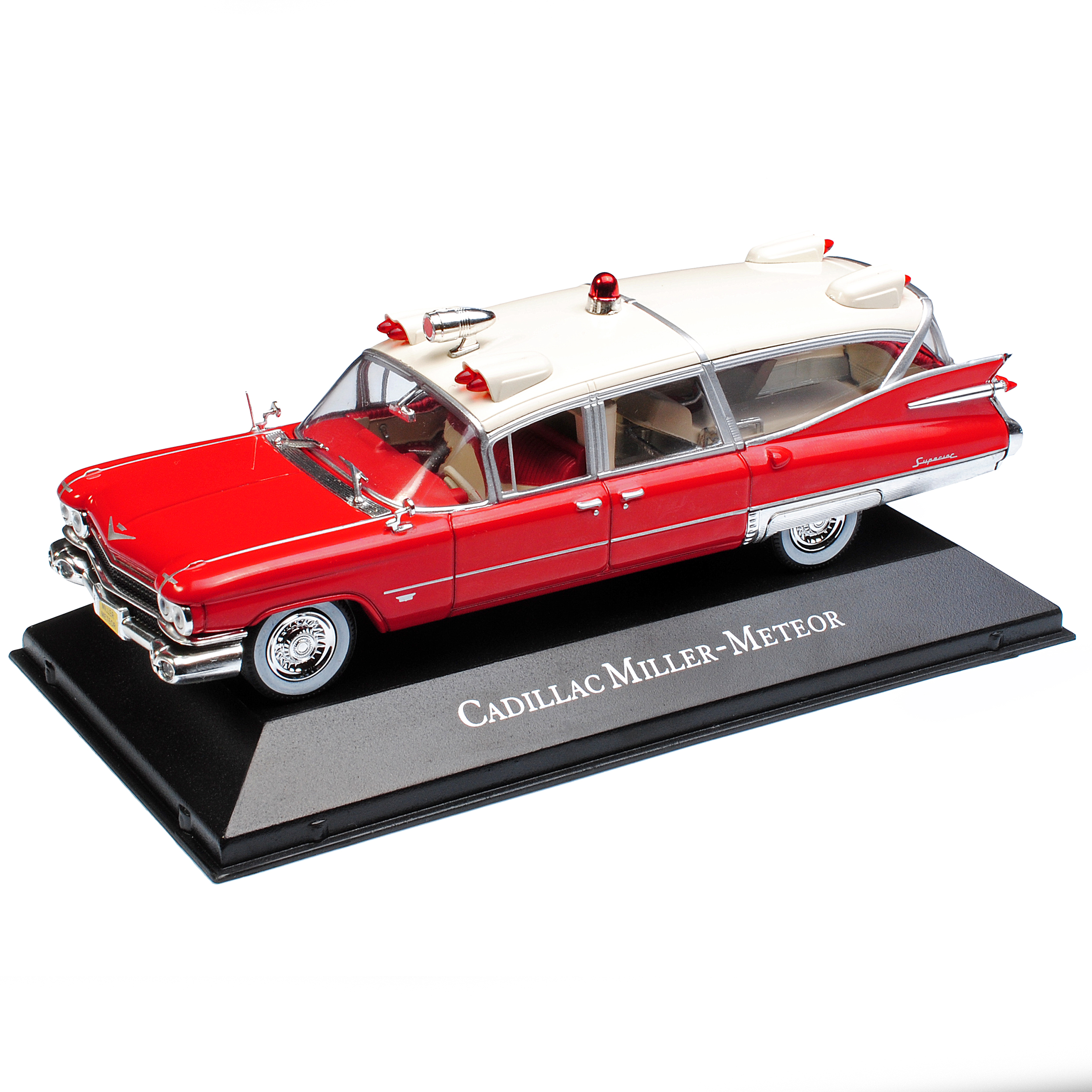 Ambulancia Cadillac Miller Meteor rojo blanco Atlas 1:43 modelo de coche con o sin...