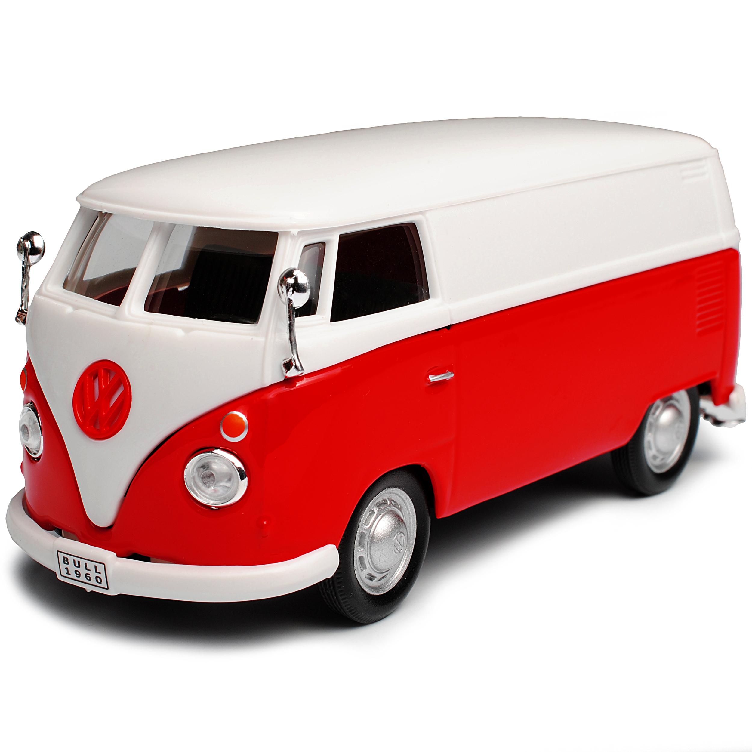 VW VOLKSWAGEN t1 ROSSO BIANCO CASSETTA TRANSPORTER Samba Bully Bus 1950-1967 1//43 C..