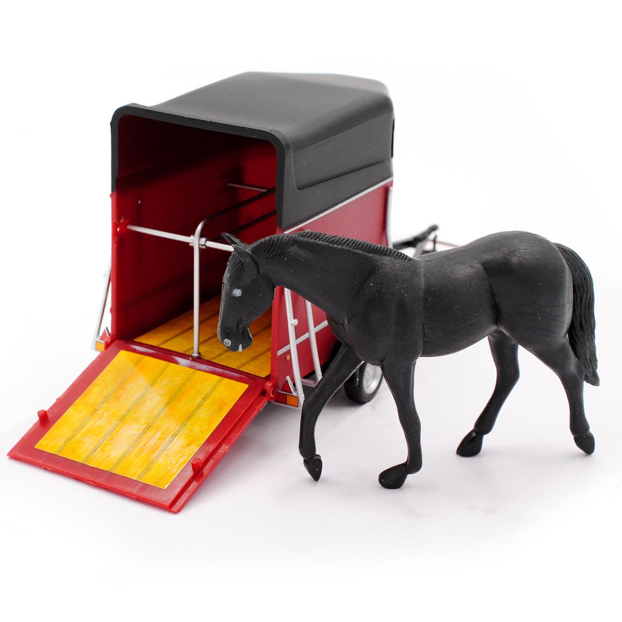 Pferdeanhänger mit Pferd und öffnender Klappe 1//43 Cararama Modell Auto mit od..