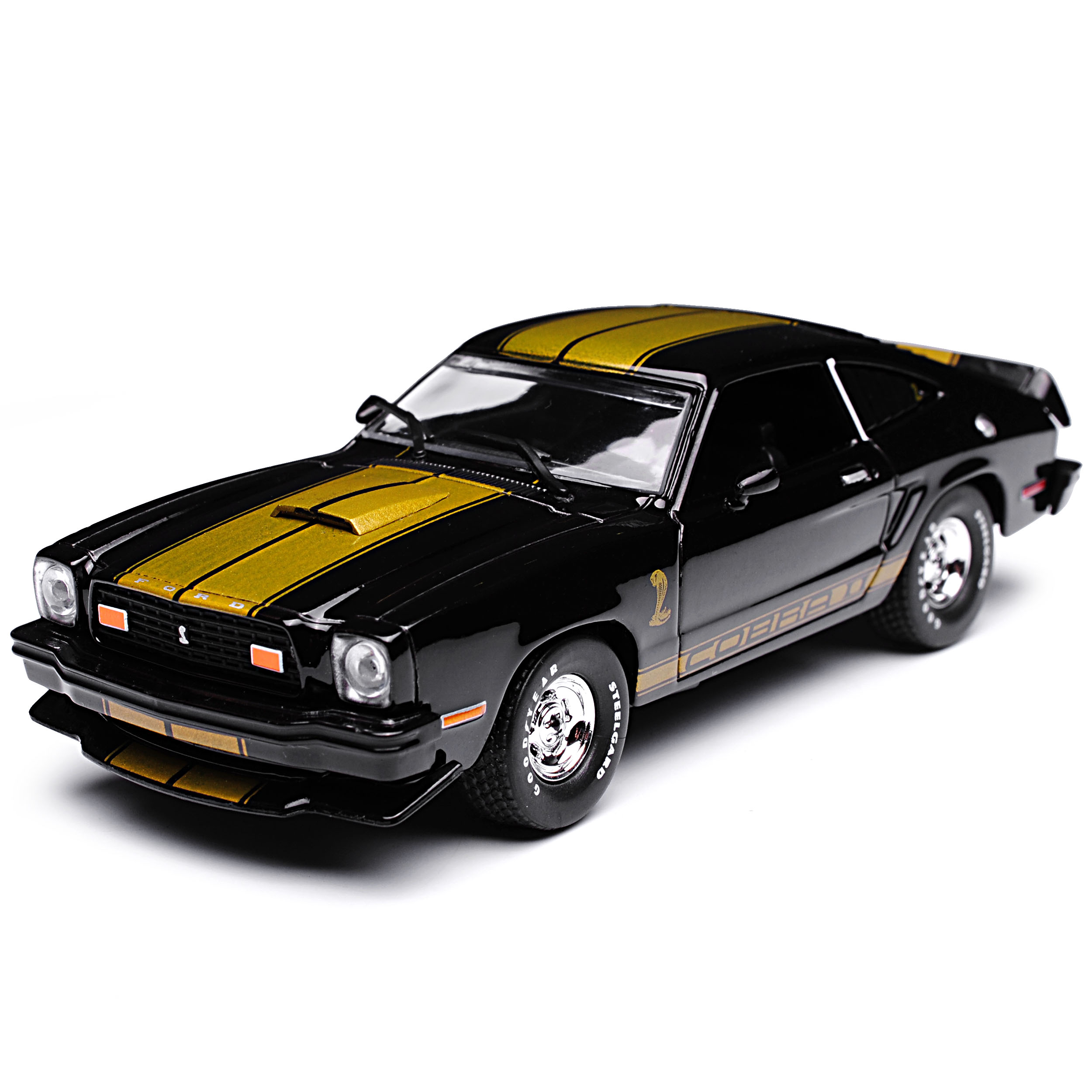 Generation 1973-1978 1//... Ford Mustang II coupé negro con oro Shelby Cobra 2