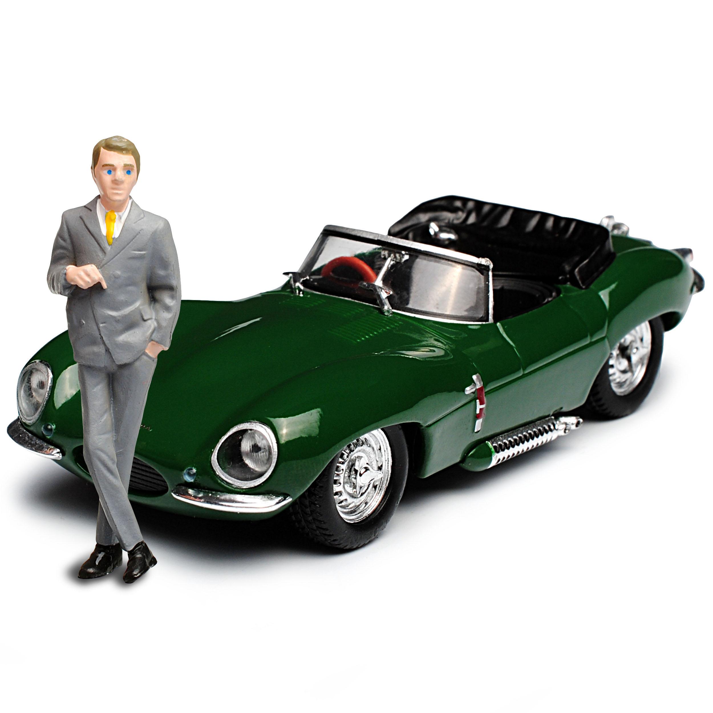 Jaguar XK-SS Steve McQueen mit Figur 1956-1957 1//43 Greenlight Modell Auto mit..