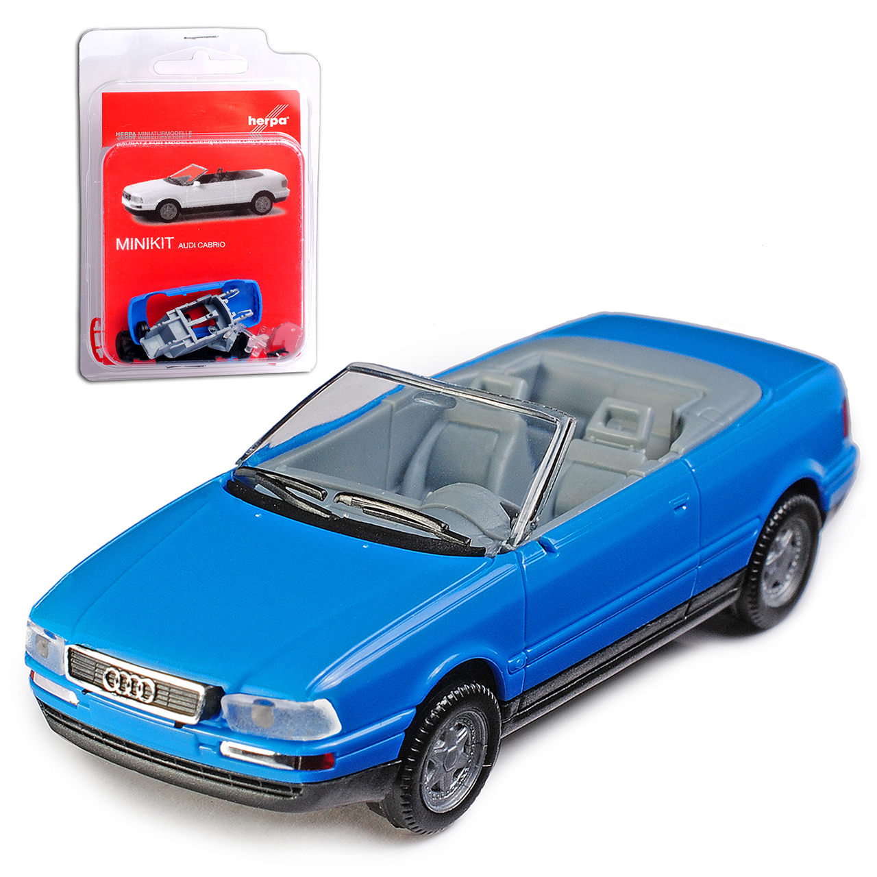 Audi 80 B4 8C convertible azul abierto 1991-1995 Kit Kit H0 1:87 Herpa modelo aircondition.