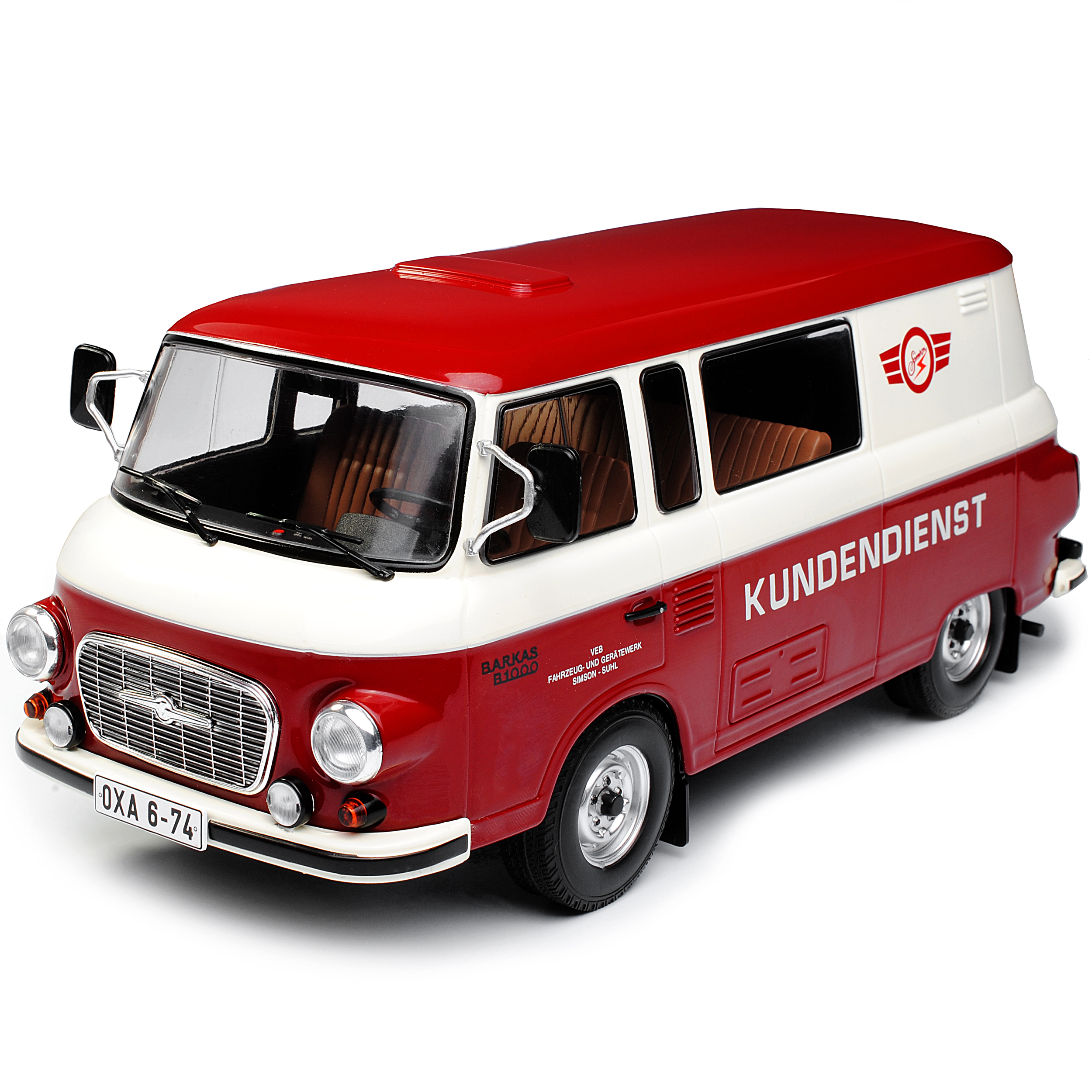 Barkas B1000 Bus Halbbus Simson Kundendienst VEB DDR Rot Beige 1961-1990 1//18 ..