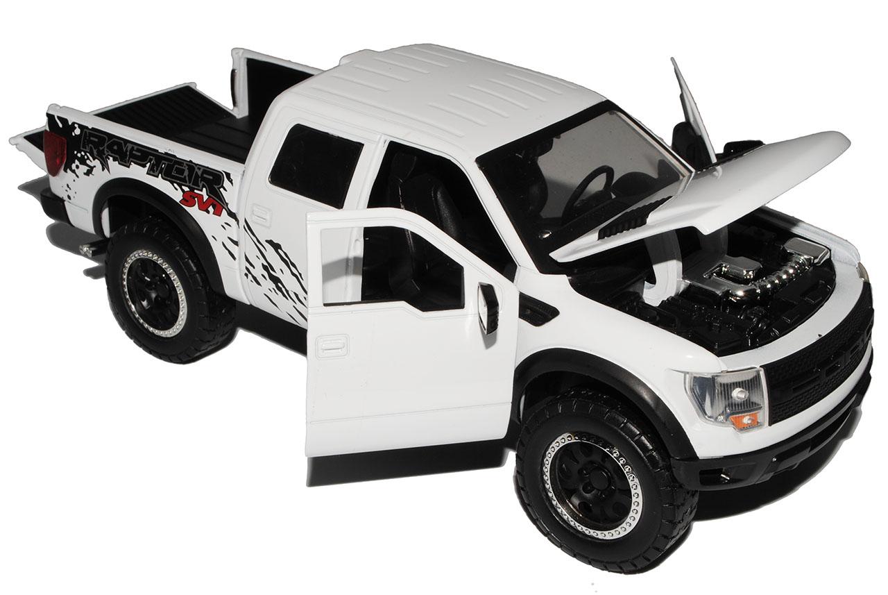 Ford F-150 SVT Raptor blanco 12 generaciones Jada 2008-2014 1//24 modelo de auto con...