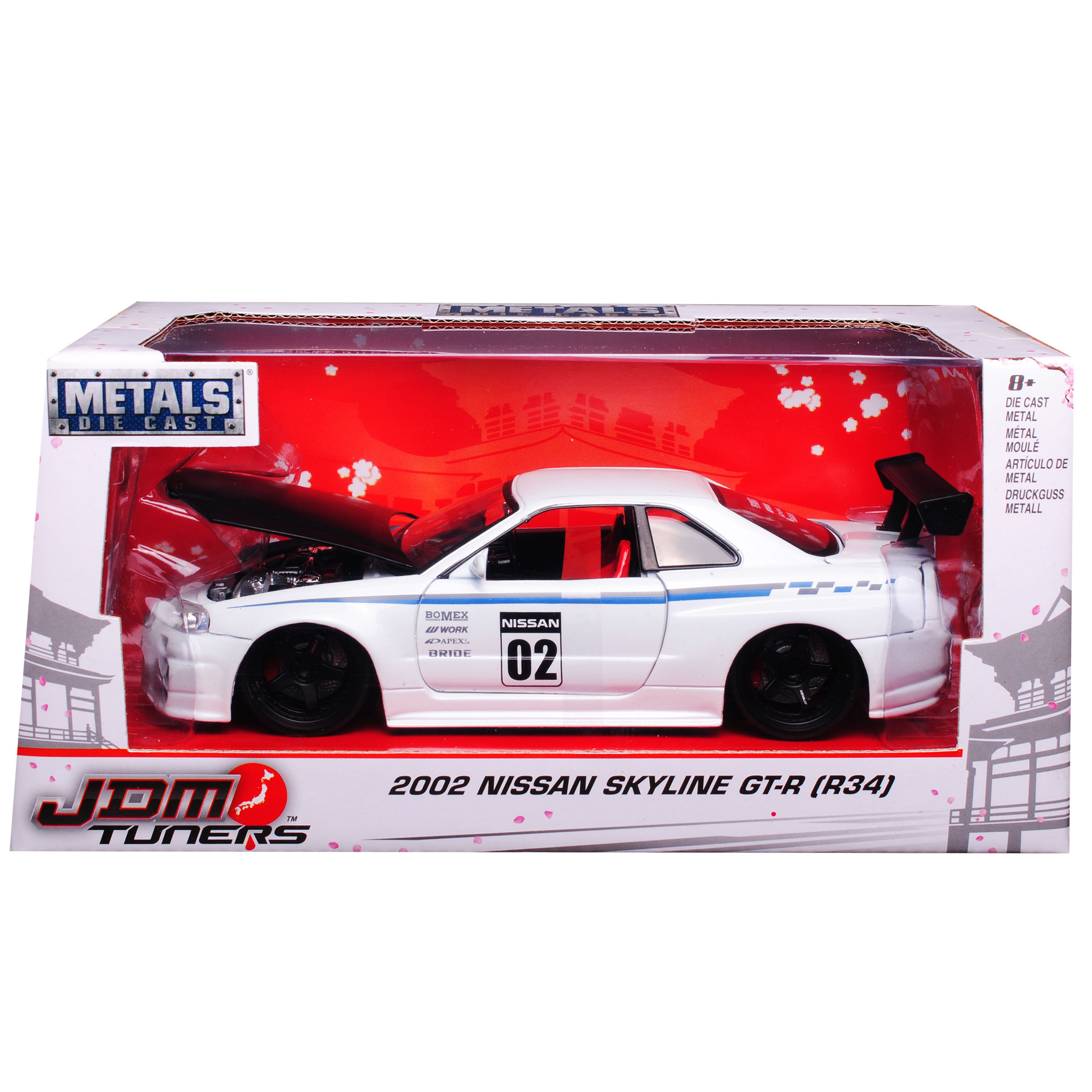 Nissan Skyline GT-R r34 Coupe Weiss tuning 1998-2002 1//24 jada modelo coche con...