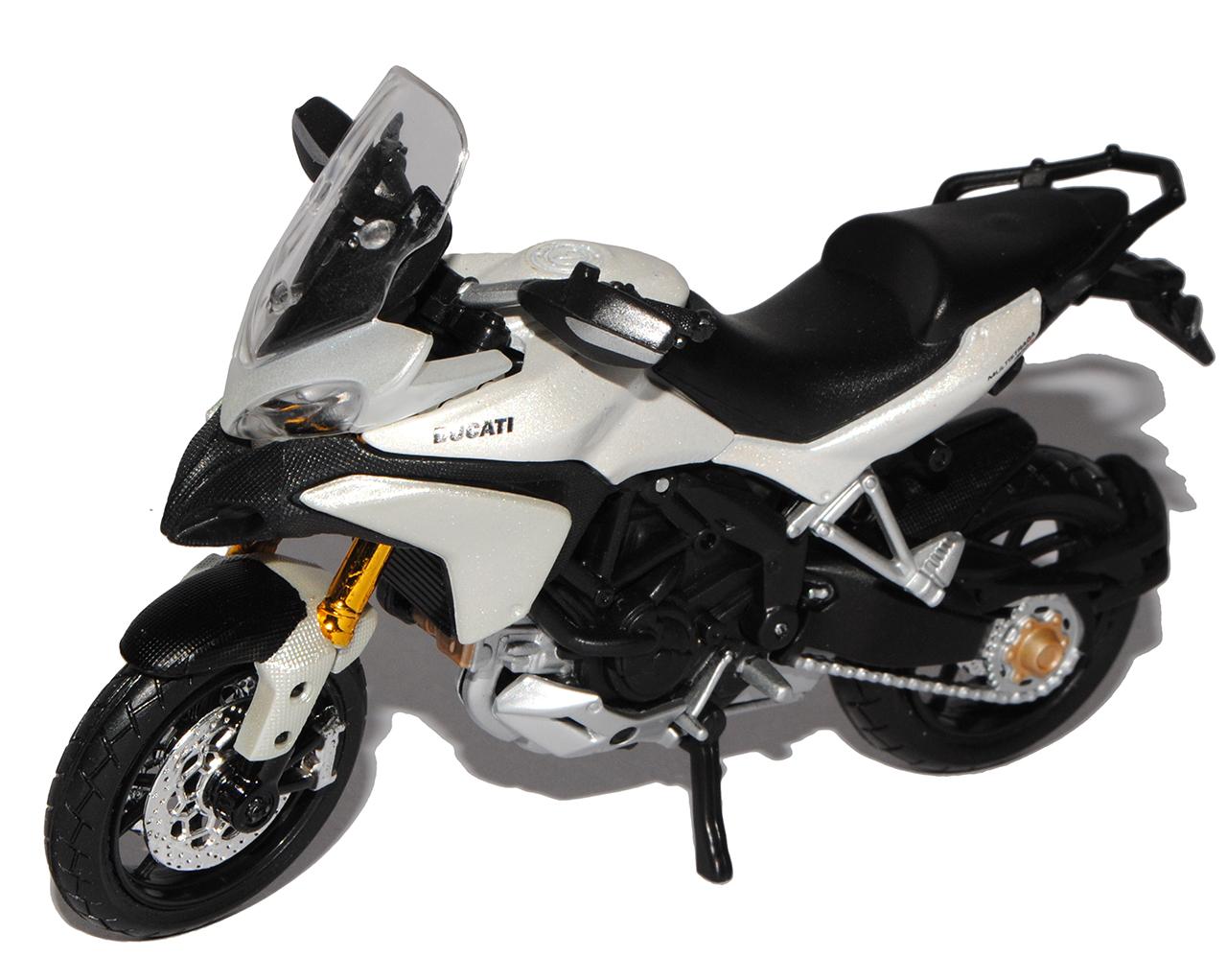 DUCATI MULTISTRADA 1200s bianca a partire dal 2010 con socket 1//18 Maisto Moto Modello...