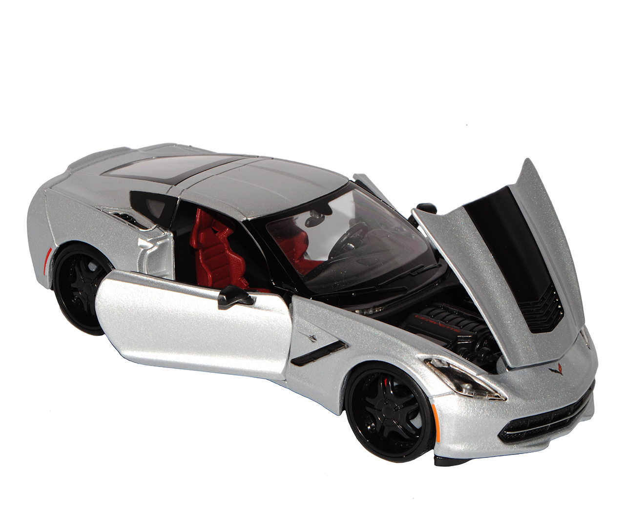 Chevrolet Corvette C7 Z06 Coupe Silber mit Schwarz Tuning Version Ab 2013 1//24..
