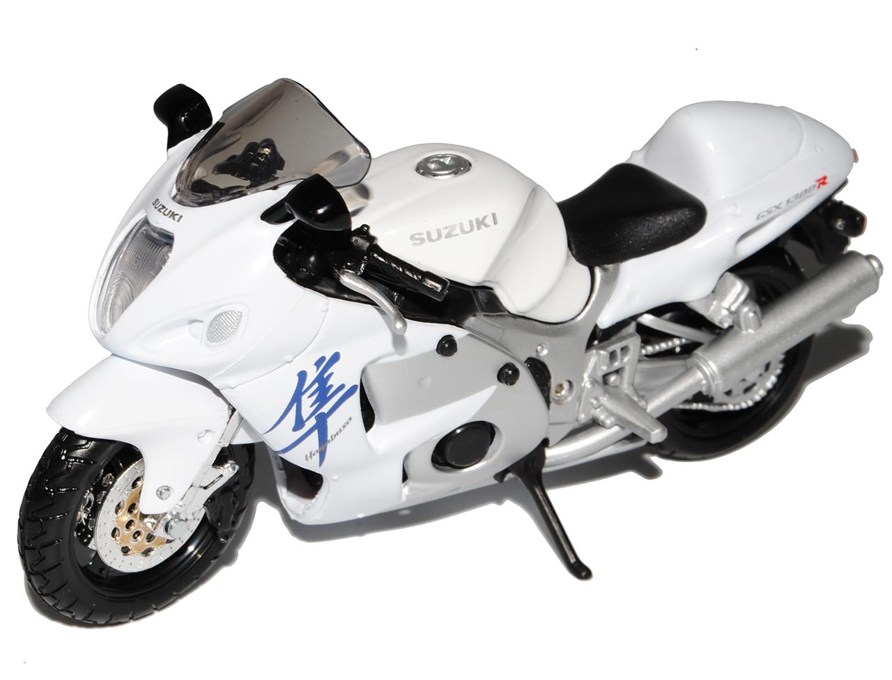 Suzuki GSX 1300R Hayabusa Weiss Mit Sockel 1//18 Maisto Modell Motorrad mit ode..