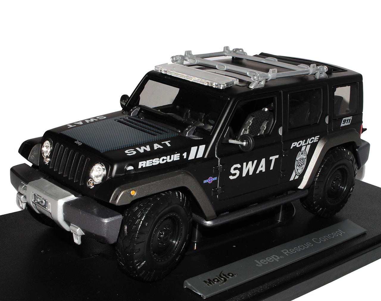 JEEP-Wrangler-Rescue-Concept-SWAT-NERO-1-18-Maisto-Modello-auto-con-o-senza