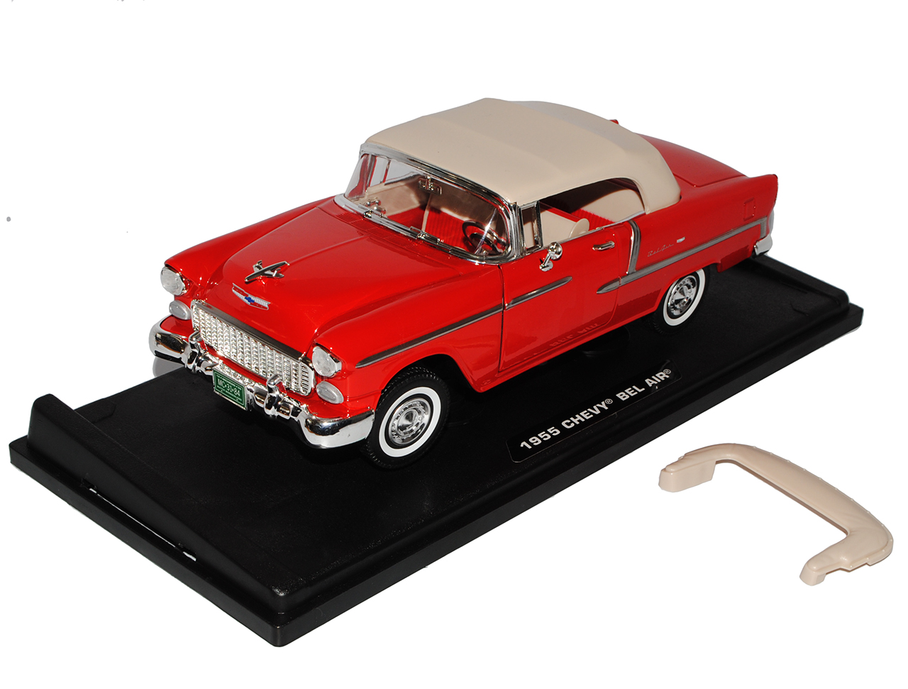CHEVROLET Bel Air Cabrio Rosso con rimovibile HARD TOP 1955 1//18 Motormax MODEL...