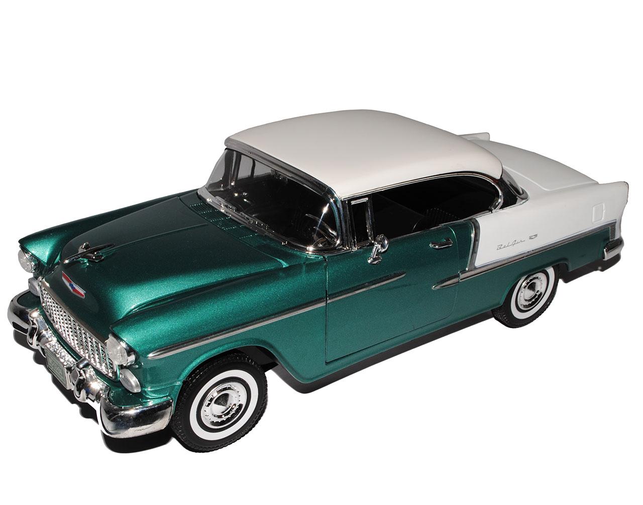 Chevrolet Bel Air Coupe verde con techo blanco 1955 1//18 Motormax modelo coche con...