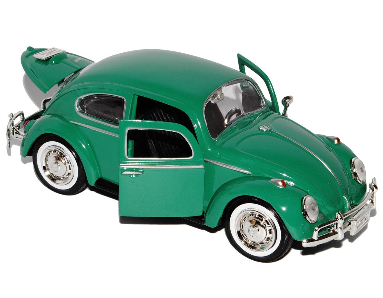 VW Volkswagen escarabajo 1300 Coupe Java verde con banda blanca neumáticos 1//24 Motormax mod.