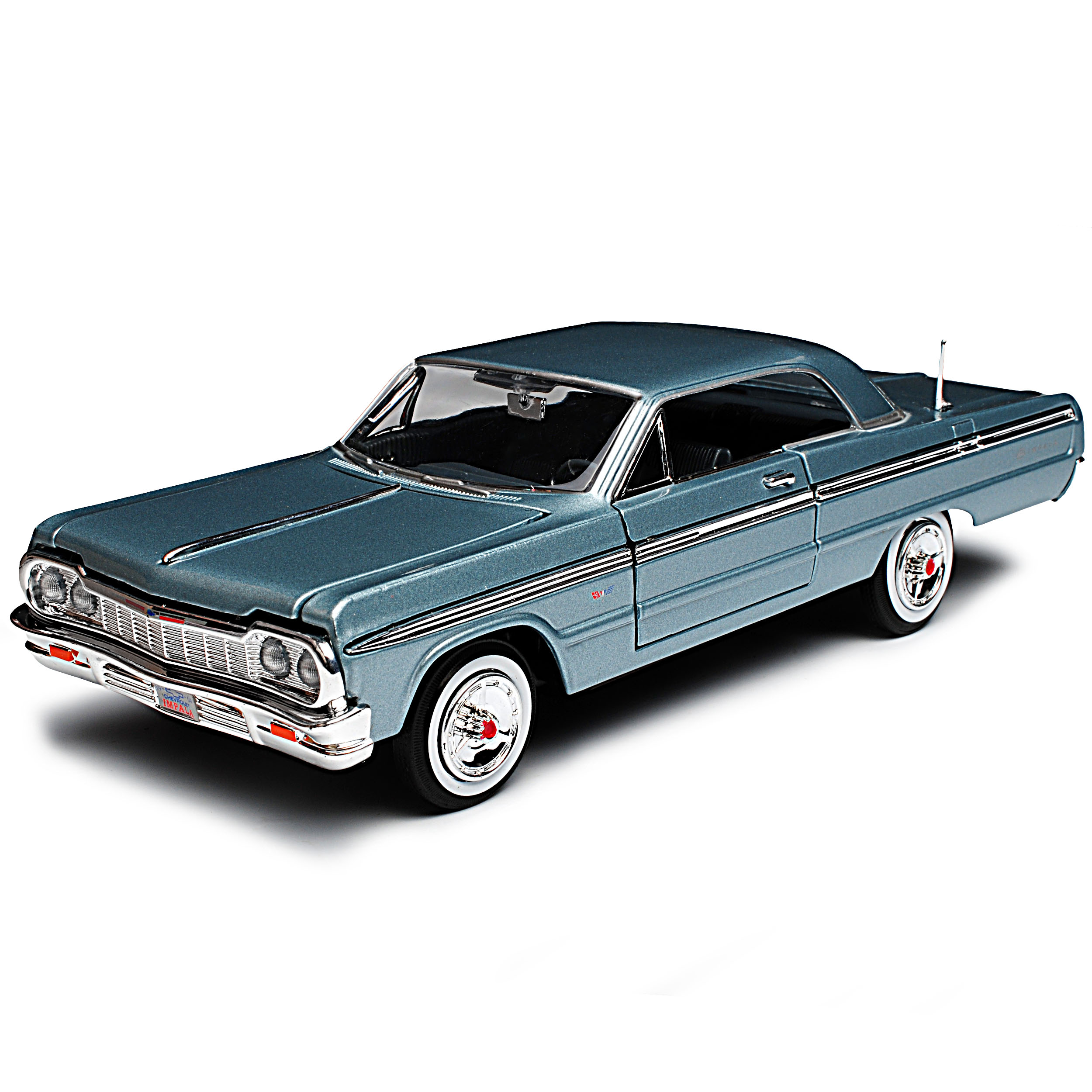 Chevrolet Impala SS Coupe plata azul 1964 1//24 Motormax modelo coche con o...