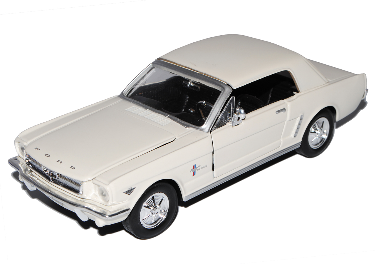 Ford Mustang 1964 1//2 Coupe Cream Beige 1//24 Motormax Modell Auto mit oder ohn..