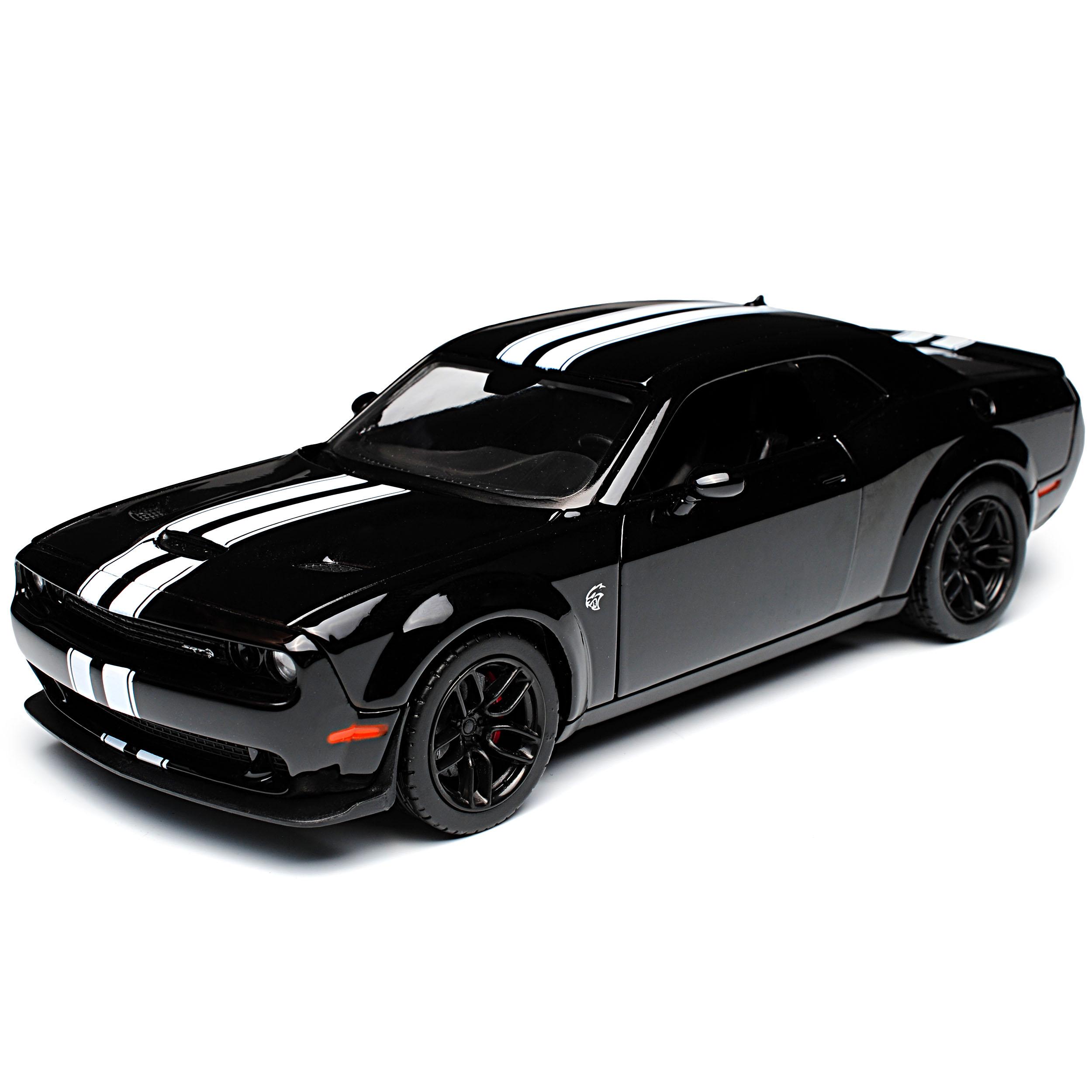 Dodge Challenger SRT Hellcat Coupe Schwarz mit silbernen 1//24 Motormax Modell ..