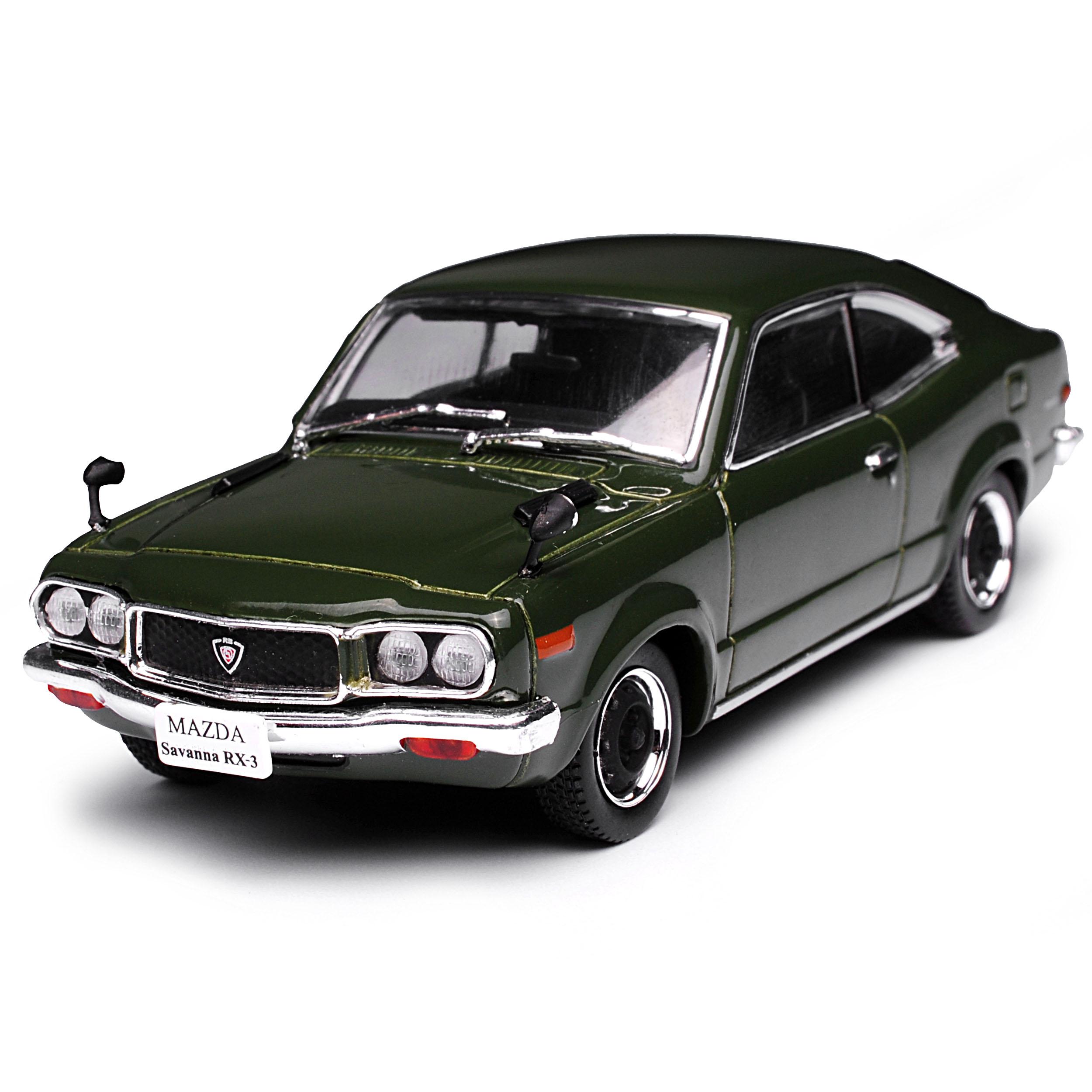 Mazda RX-3 Savanna Coupe Dunkel Grün 1972-1978 1//43 Norev Modell Auto mit oder..
