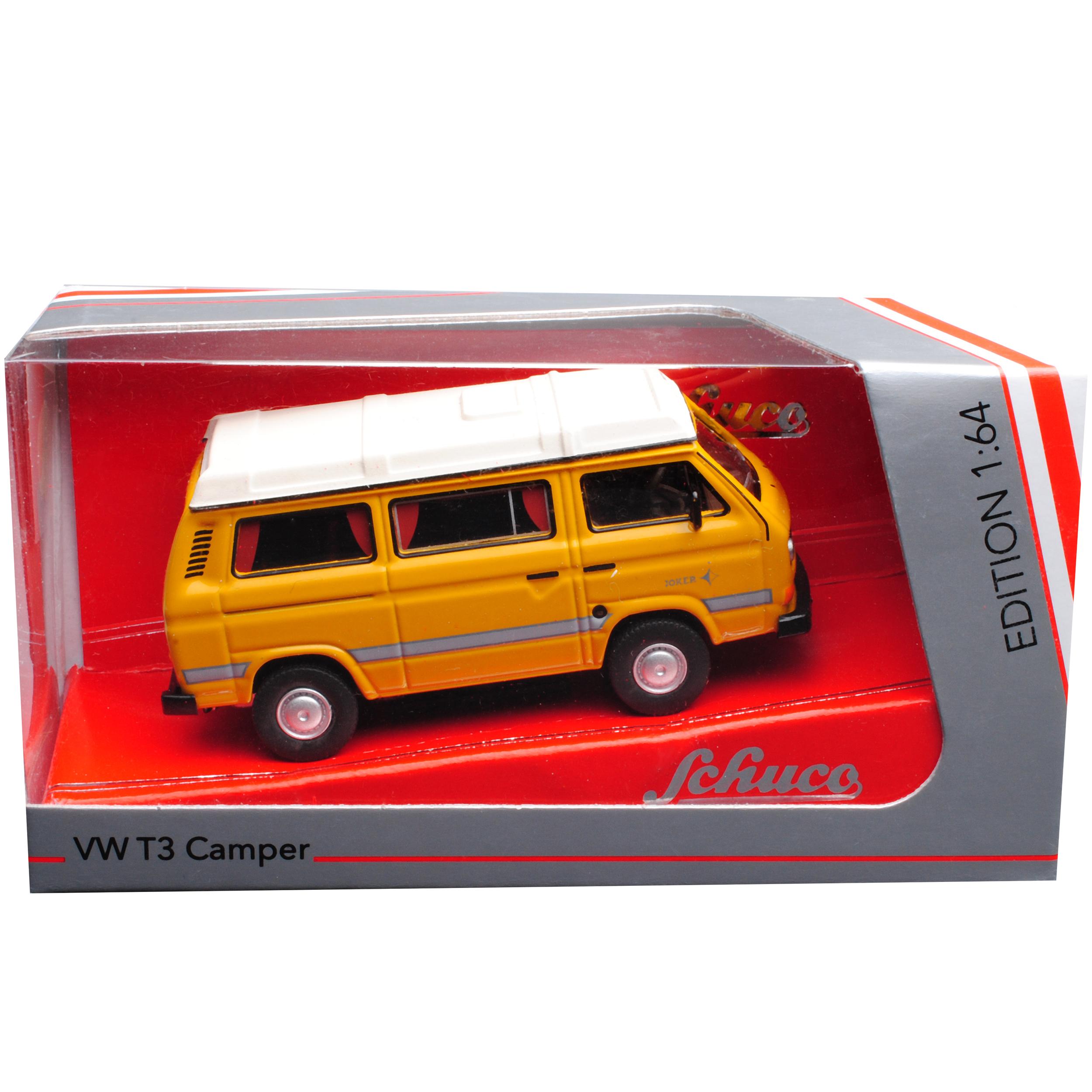 VW Volkswagen T3 Camper Bus Transporter Camping Gelb 1979-1992 1//64 Schuco Mod..
