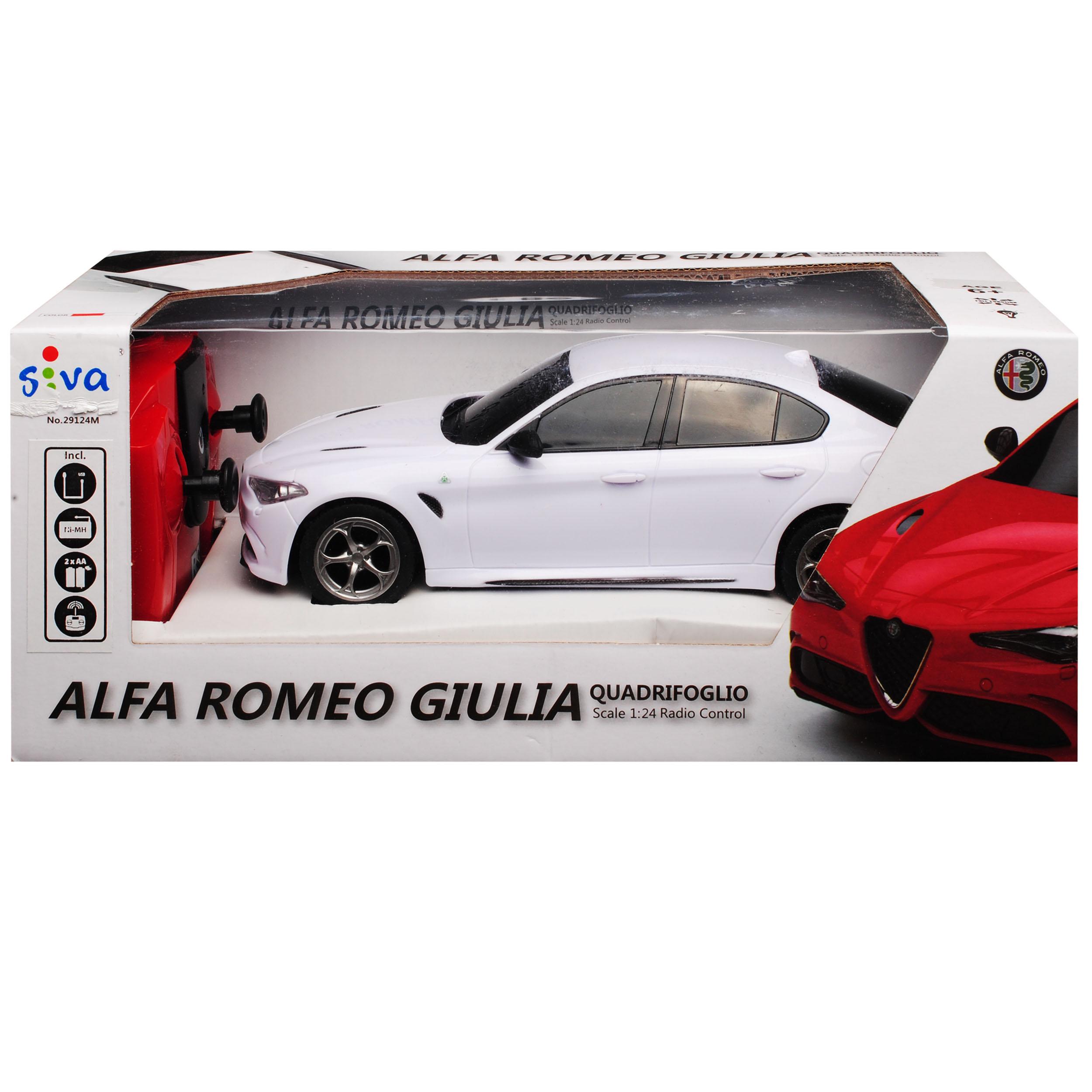 ALFA ROMEO GIULIA bianco dal 2016 2,4 GHz RC Auto Radio con illuminazione e akkupa...