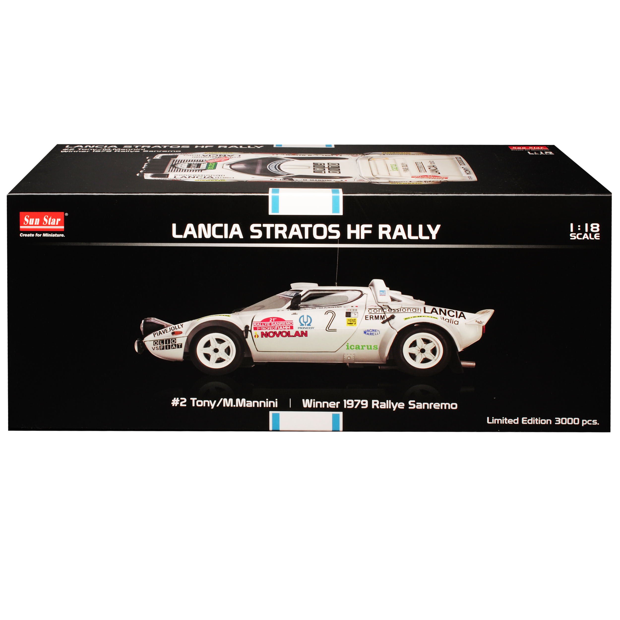 LANCIA Stratos HF Rally Tony Mannini gweinner RALLY SANREMO 1979 1//18 Sun Star...