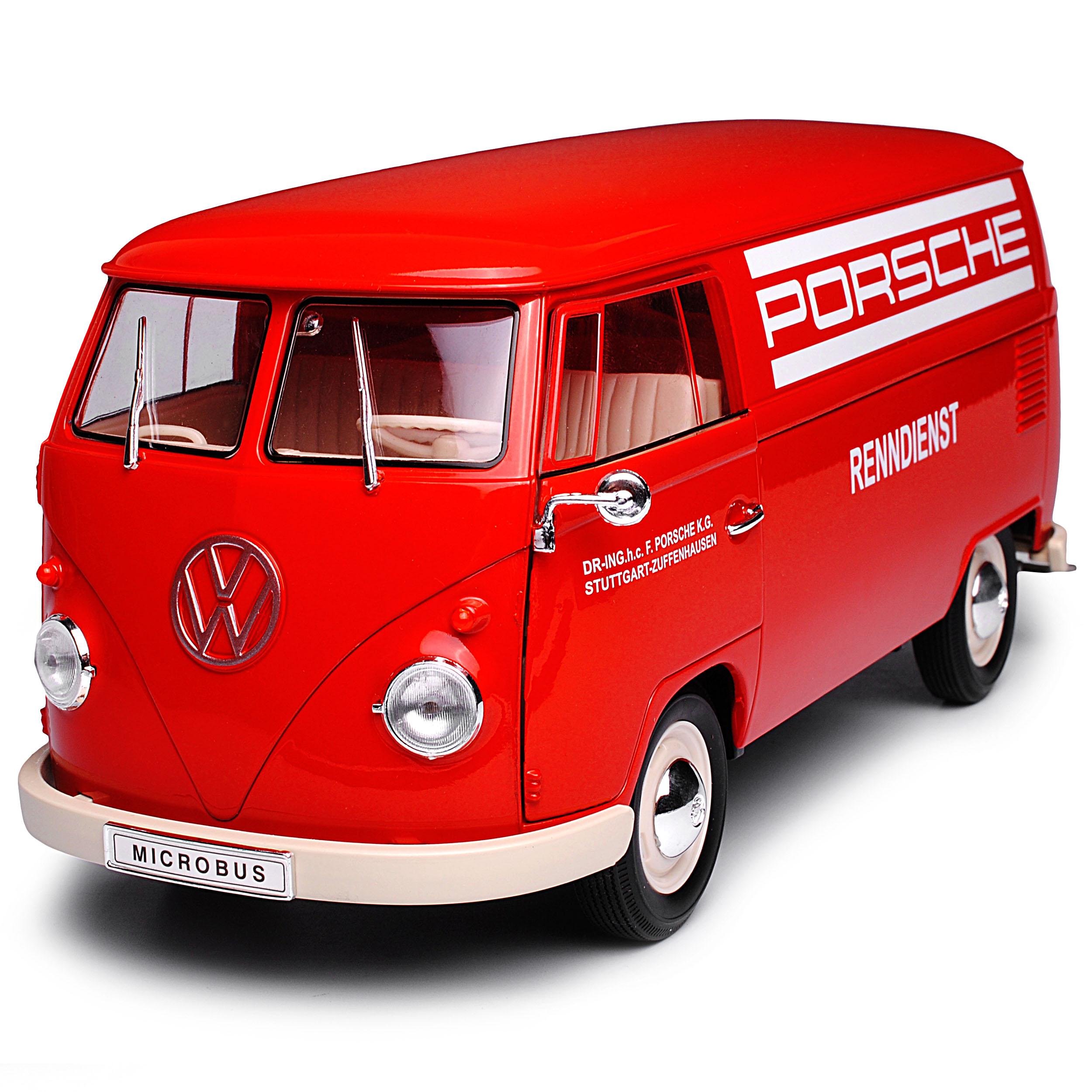 Volkswagen VW t1 rojo Porsche renndienst samba Bully bus 1950-1967 1//18 Welly M..