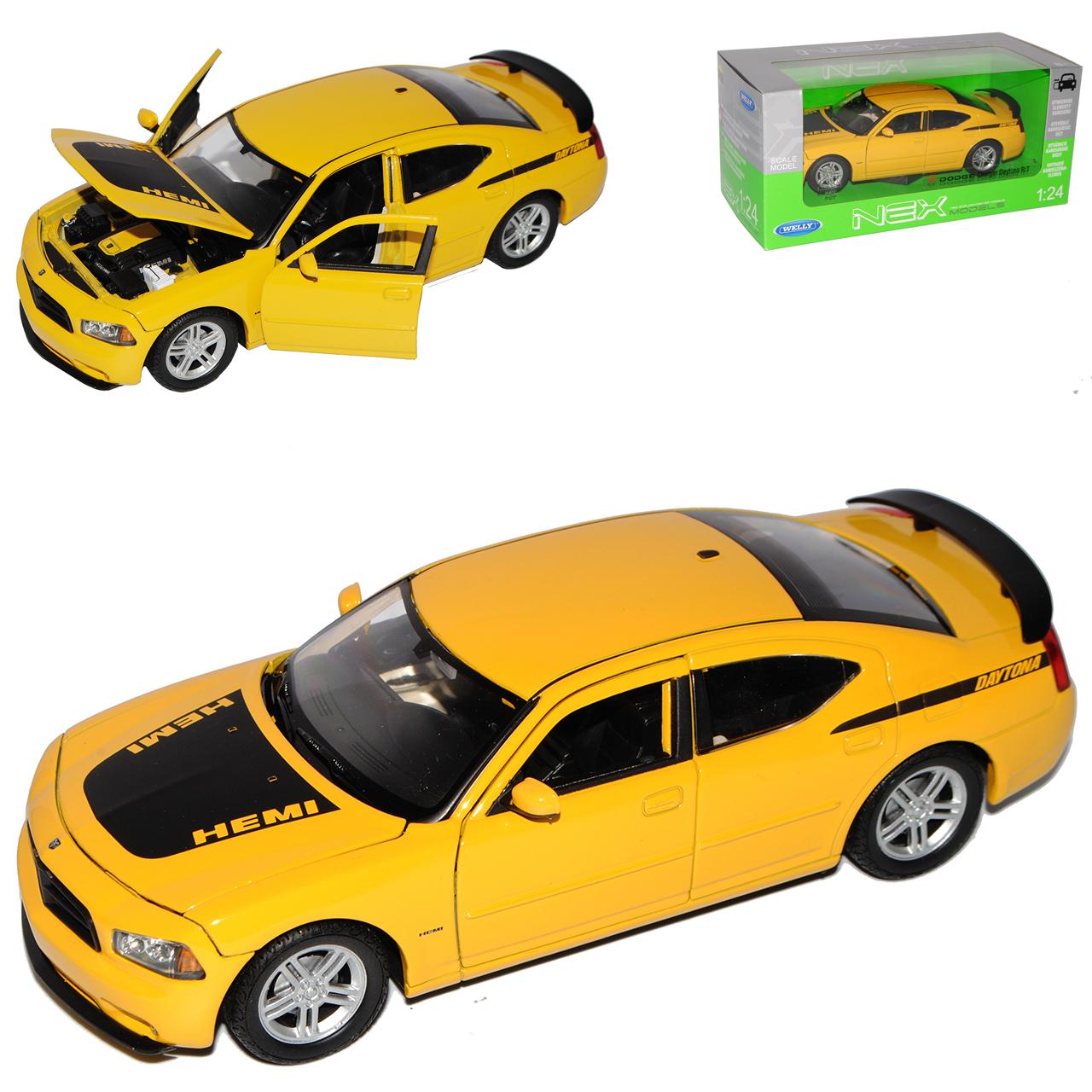 DODGE CHARGER R//T Daytona Hemi GIALLO con nero limousine a partire dal 2005 1//24 Welly M..