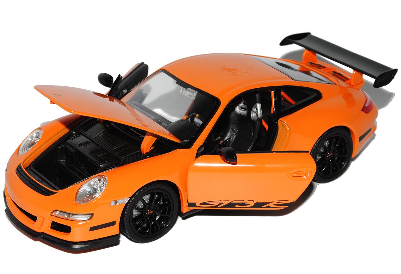Porsche 911 997 gt3 RS naranja con negro 2004-2011 1//24 Welly modelo coche con...