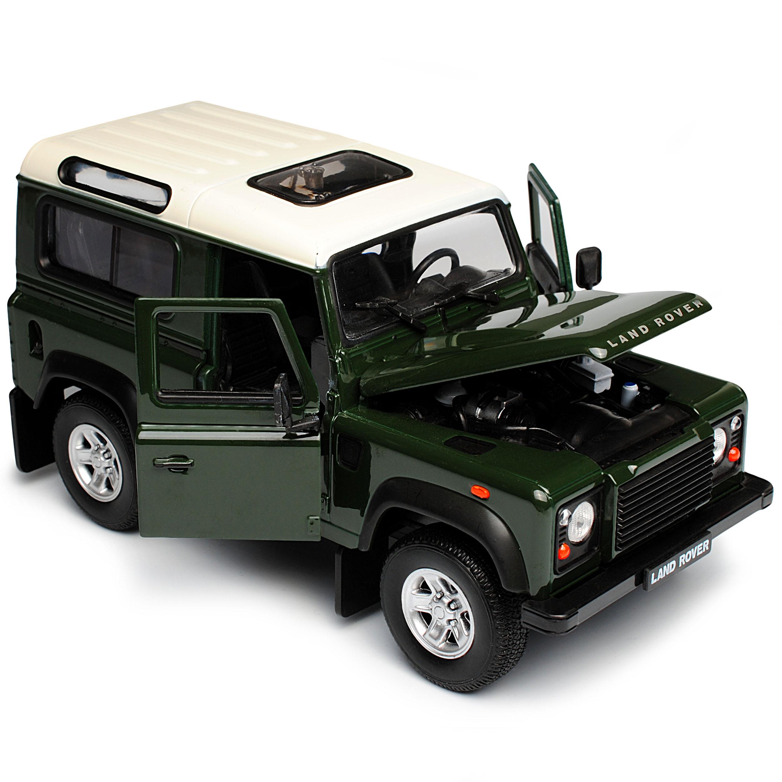 Land Rover Defender 90 verde con techo blanca 3 puertas 1//24 Welly modelo auto con