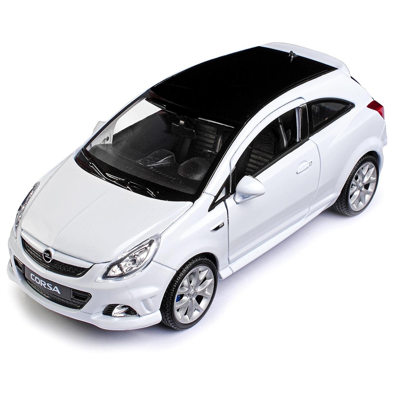 Opel Corsa D 3 puertas blanco 2006-2014 1//24 welly modelo coche con o sin indi...