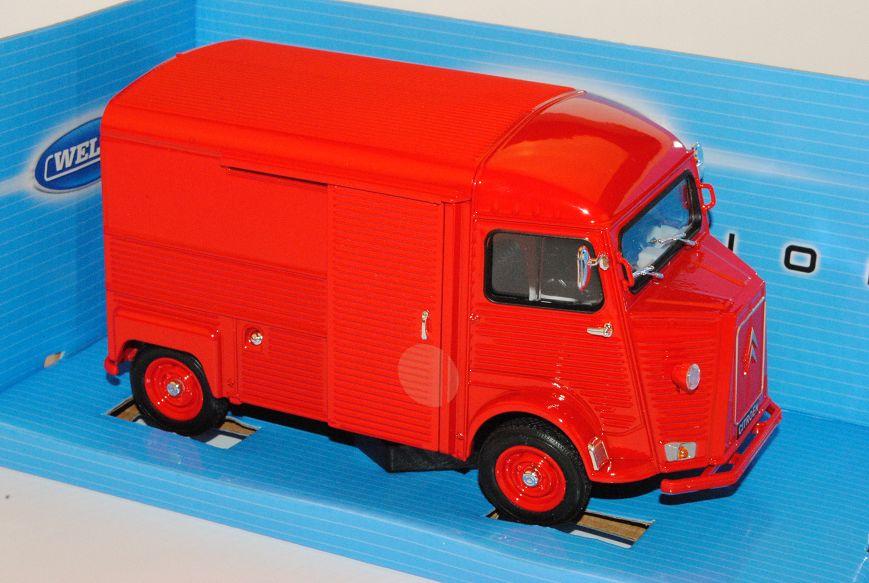 Citroen Type H Transporter Kasten Rot 1//24 Welly Modell Auto mit oder ohne ind..