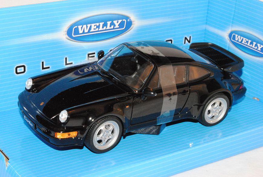 Porsche 911 964 Turbo Coupe negro 1988-1994 1//24 Welly modelo coche con o...
