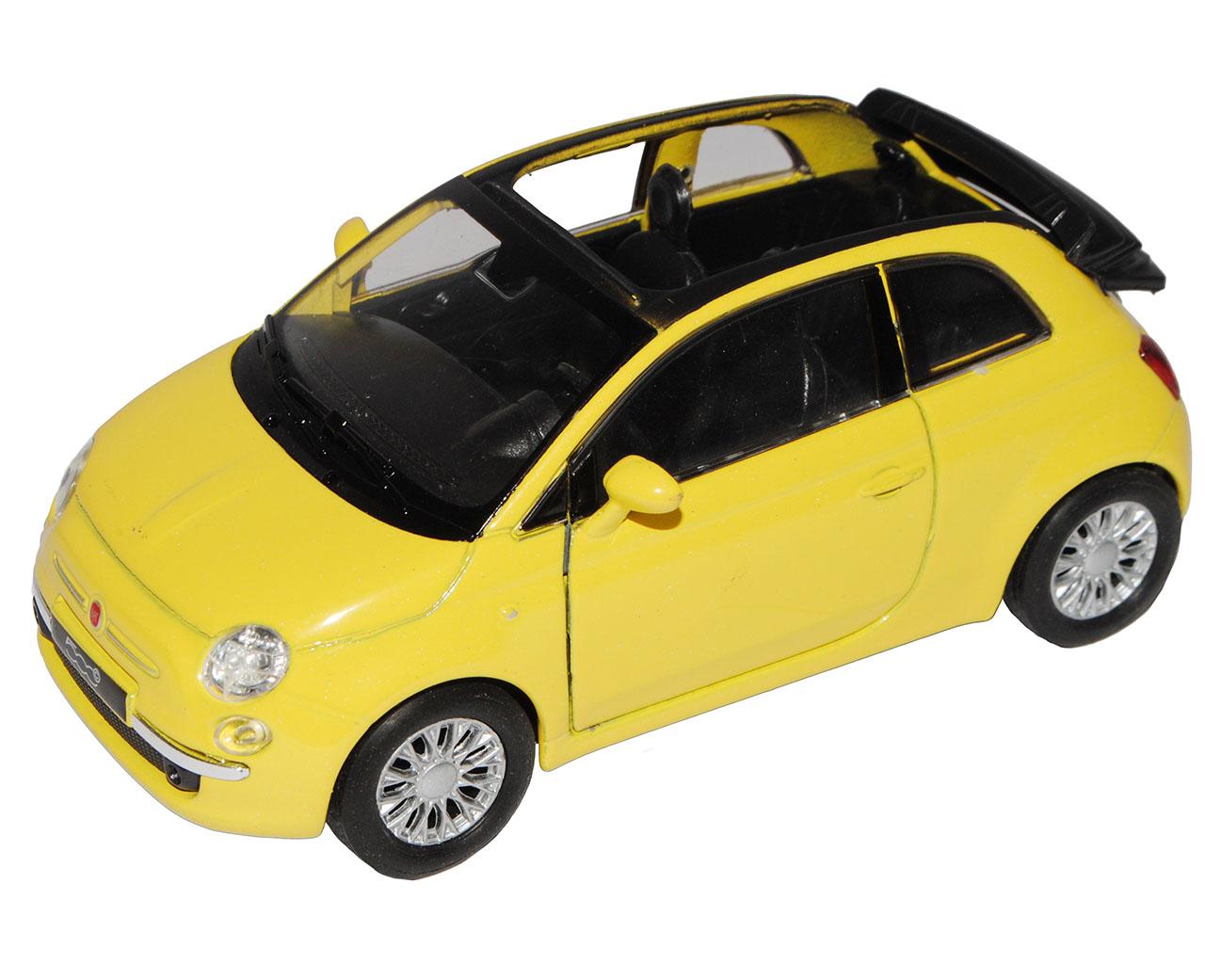 Fiat 500C Cabrio Gelb Ab 2009 ca 1//43 1//36-1//46 Welly Modell Auto mit oder ohn..