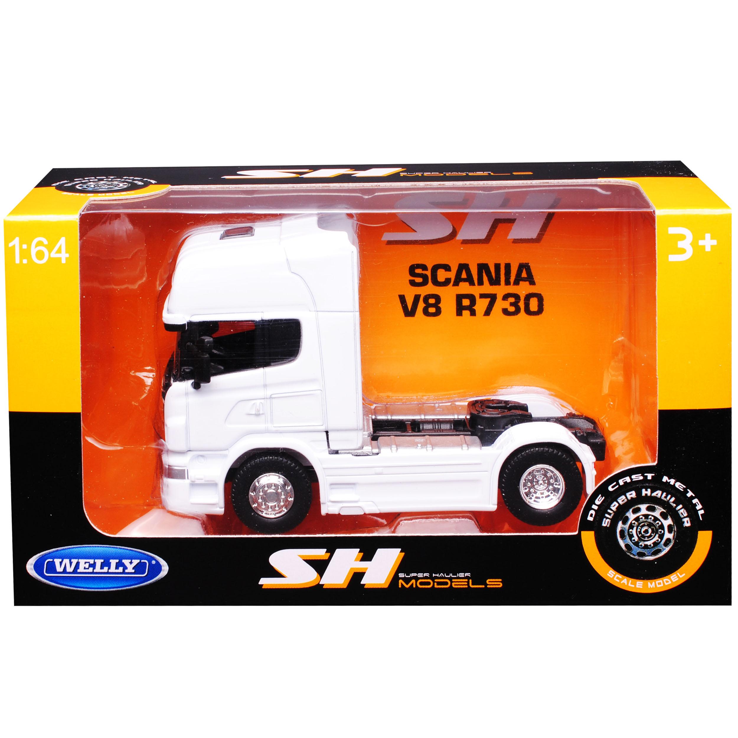 Scania R-serie r730 v8 blanco 2 ejes a partir de 2005 vehículos tractores camiones Truck 1//64 Welly...