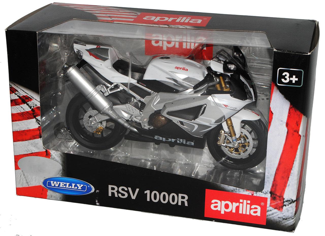 Aprilia RSV 1000R Weiss Silber 1//10 Welly Modell Motorrad mit oder ohne indivi..