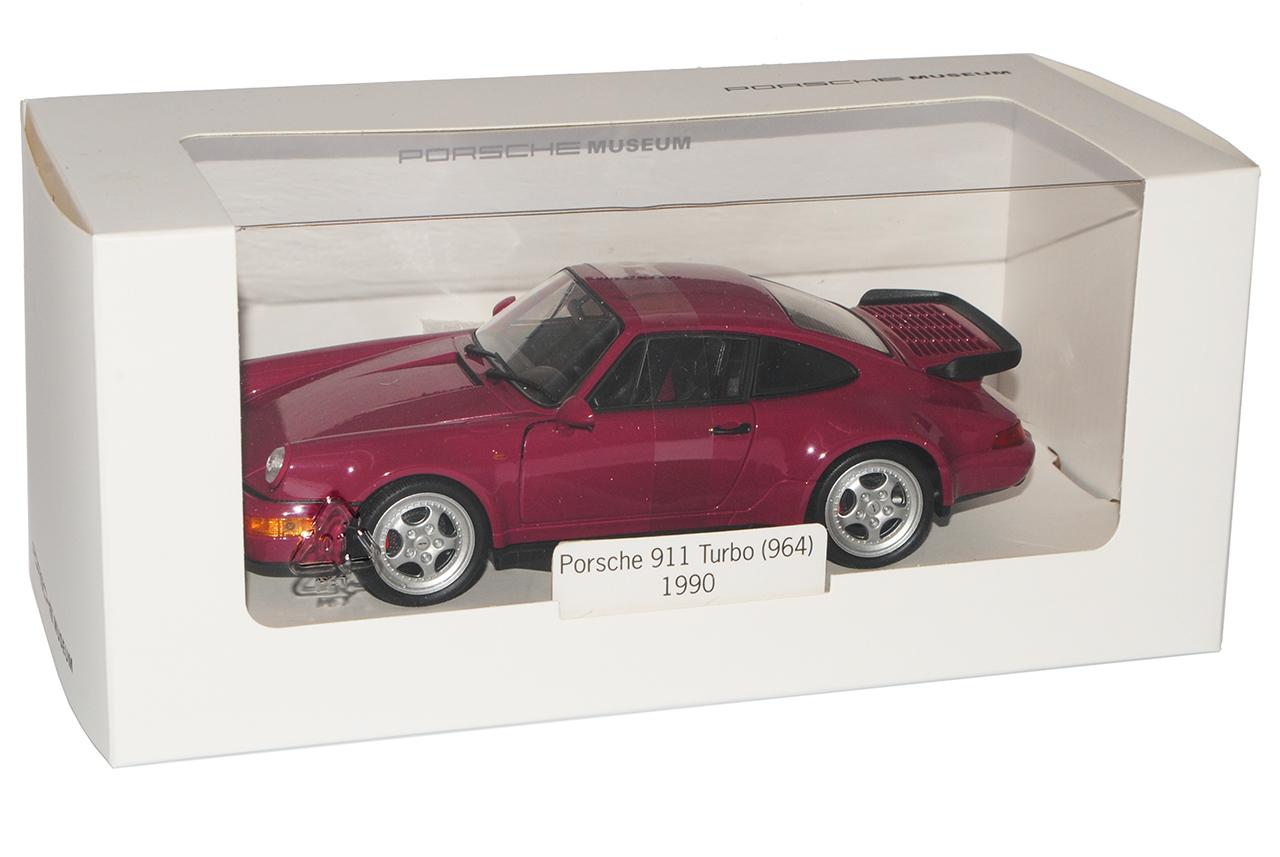Porsche 911 964 Turbo Coupe violeta Purple rojo 1988-1994 1//24 Welly modelo aut...