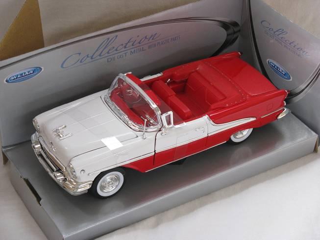 Oldsmobile Super 88 rojo Weiss convertible 1955 1//24 Welly modelo coche con o sin...