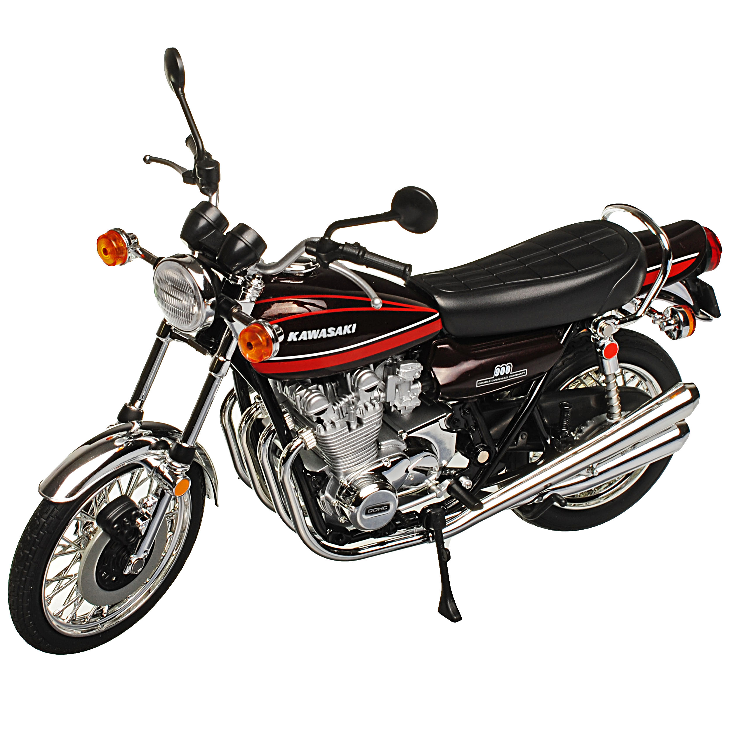 Kawasaki-900-Super-4-z1-rojo-con-rojo-1972-1976-listo-modelo-1-12-Aoshima-modelo miniatura 8