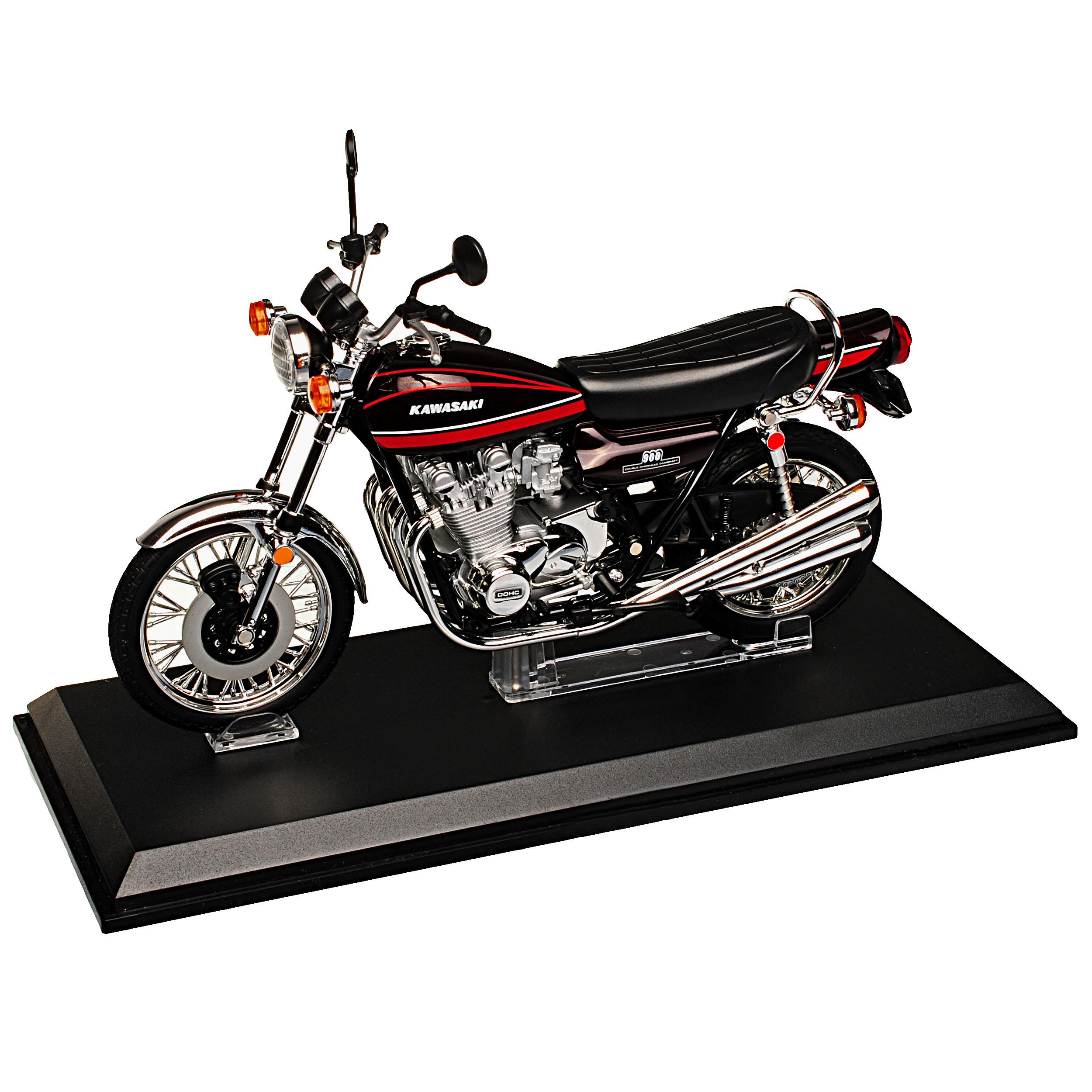 Kawasaki-900-Super-4-z1-rojo-con-rojo-1972-1976-listo-modelo-1-12-Aoshima-modelo miniatura 9