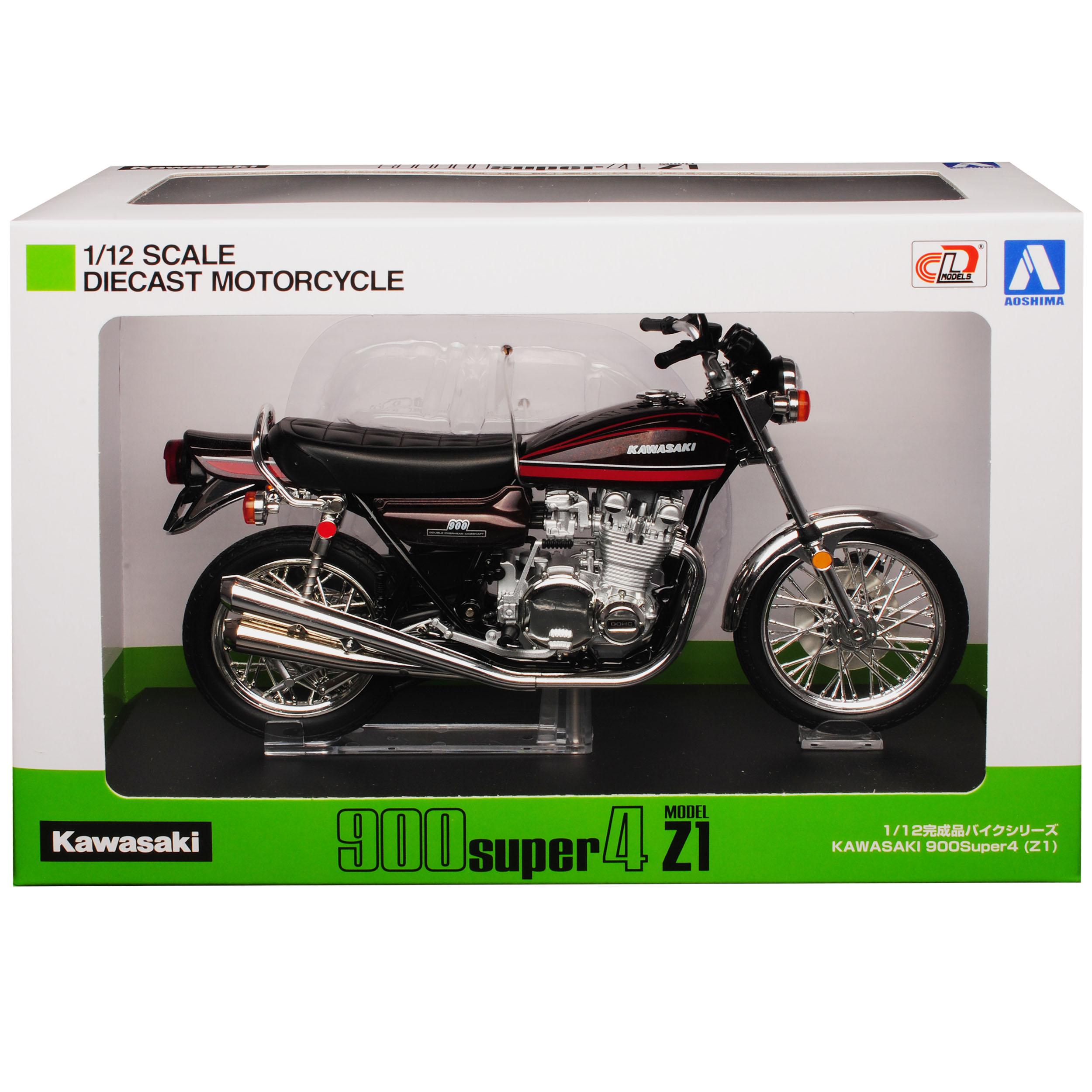 Kawasaki-900-Super-4-z1-rojo-con-rojo-1972-1976-listo-modelo-1-12-Aoshima-modelo miniatura 10