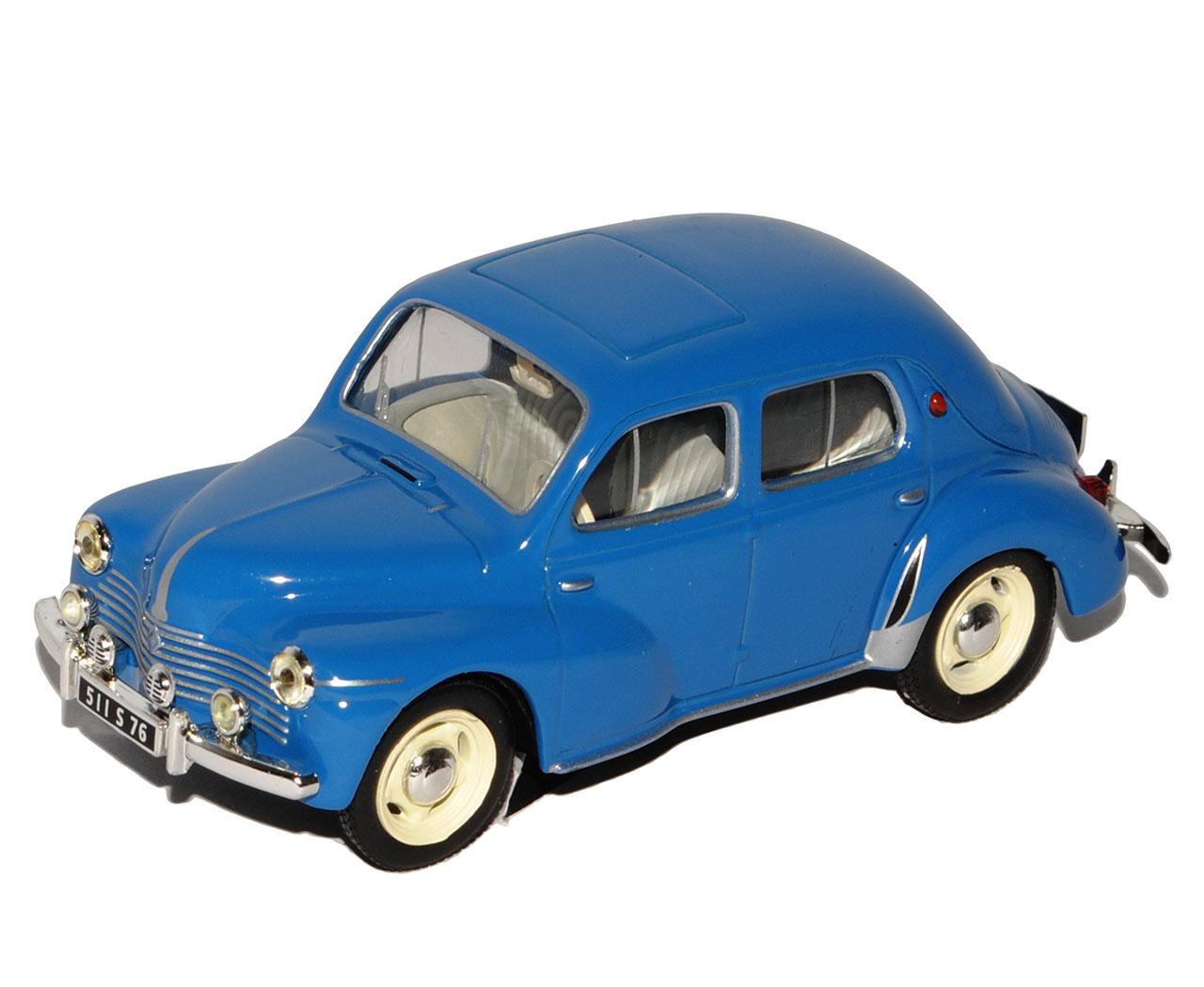 Azul-de-Luxe-sedan-de-Renault-4CV-base-con-pantalla-de-caso-1-43-Sonderangebo-Atlas miniatura 8