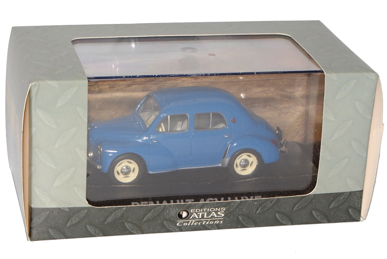 Azul-de-Luxe-sedan-de-Renault-4CV-base-con-pantalla-de-caso-1-43-Sonderangebo-Atlas miniatura 10