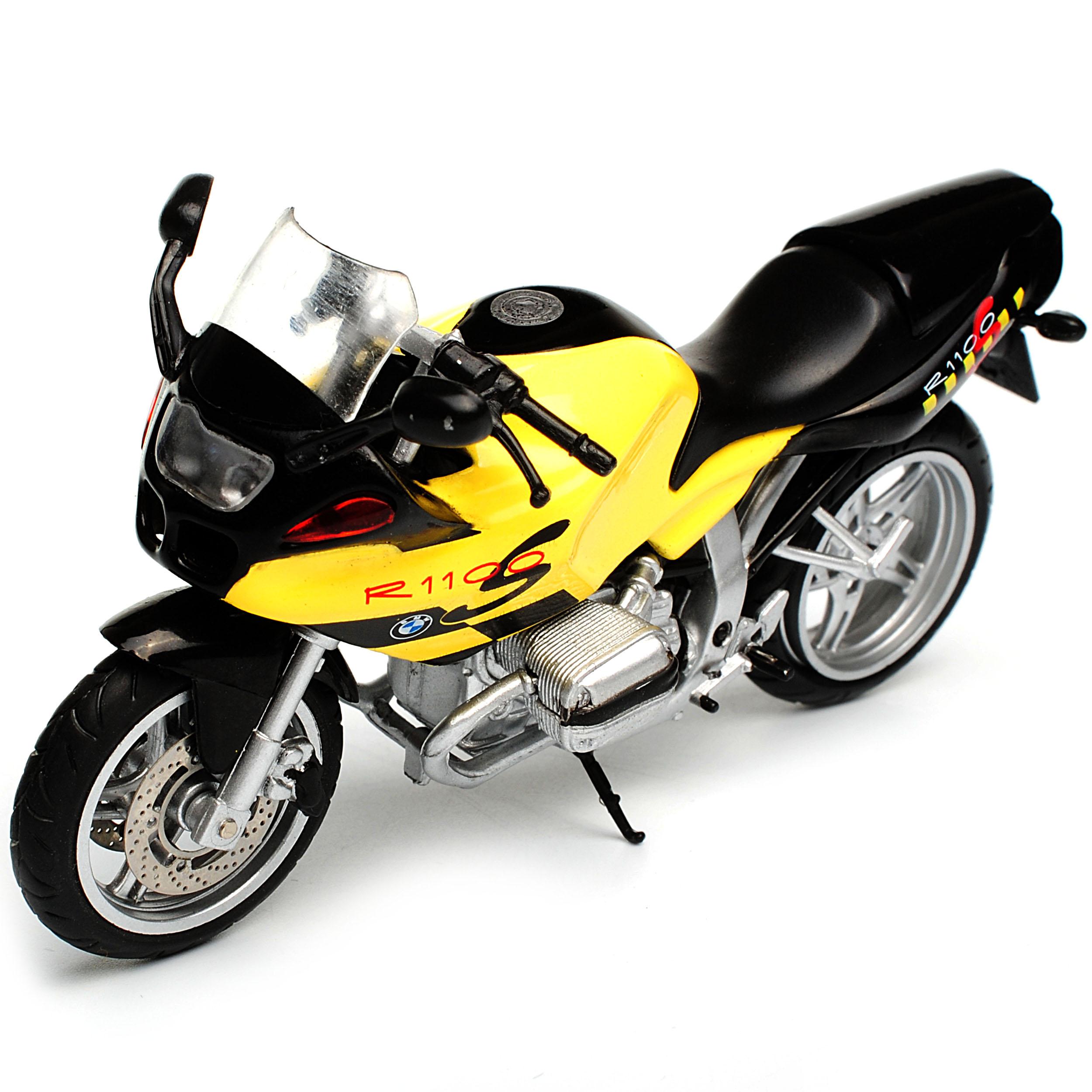 Bmw R1100s Gelb Mit Schwarz Mit Sockel Und Vitrine 1 24 Atlas Modell