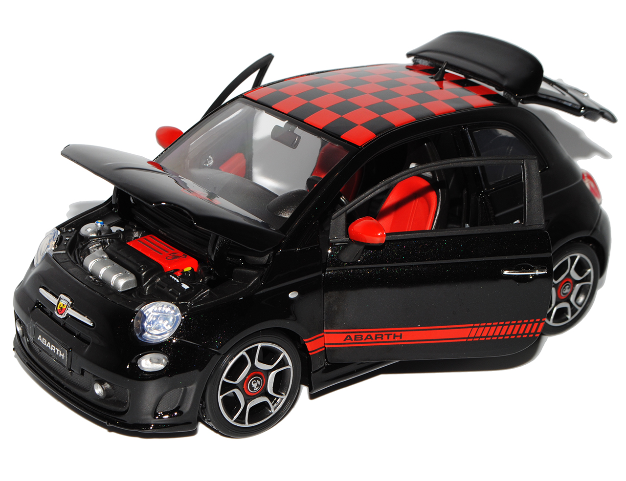 fiat 500 abarth schwarz rot karriertes dach ab 2007 1 18 bburago modell auto m ebay. Black Bedroom Furniture Sets. Home Design Ideas