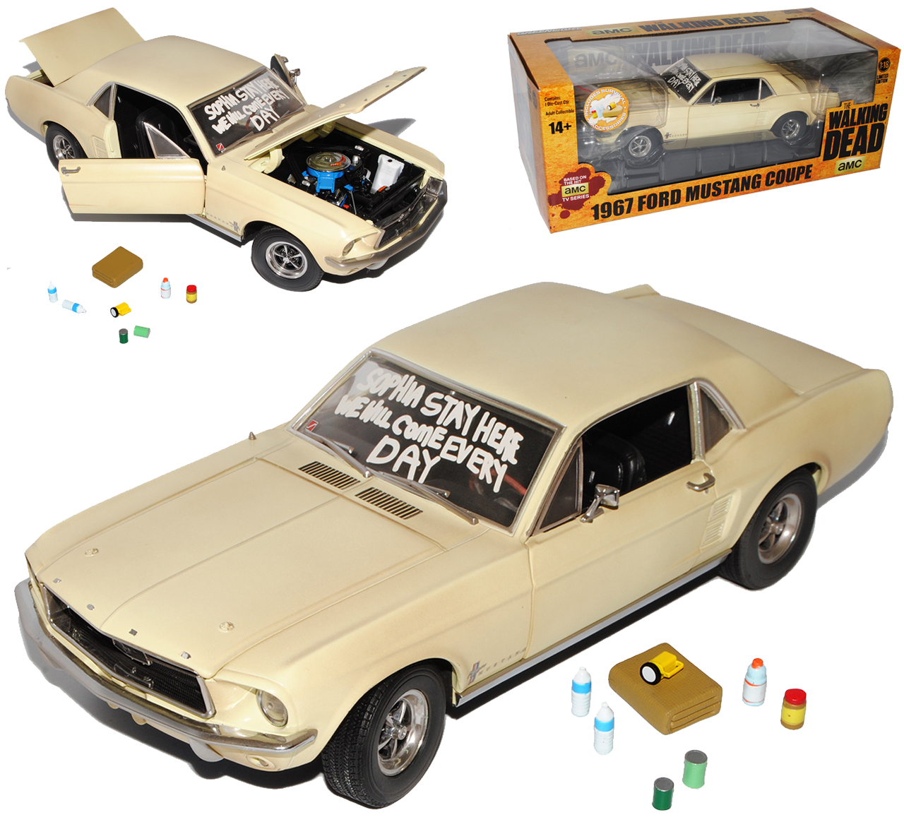 Ford Mustang Coupe Beige The Walking Dead 1967 1 18 Greenlight Modell Auto mit..