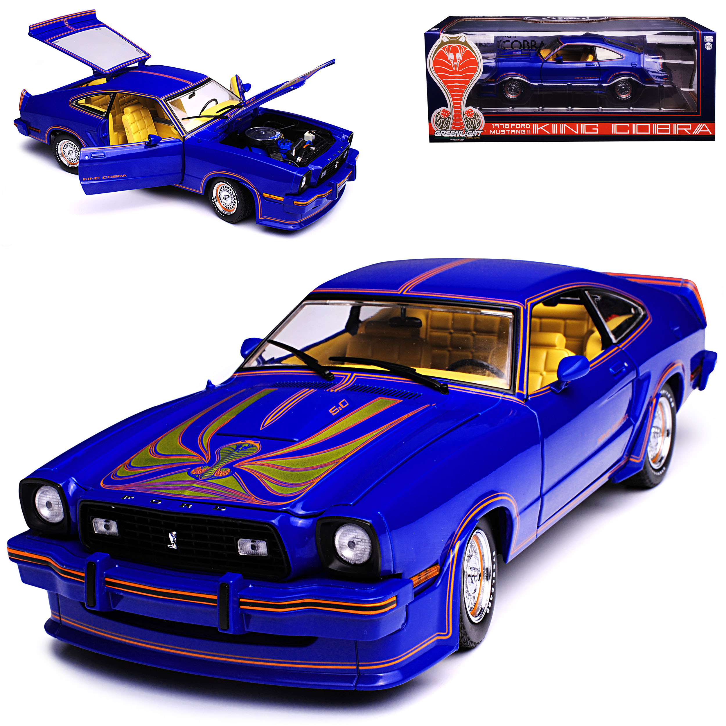 FORD Mustang II COUPE BLU Shelby Shelby Shelby King Cobra 2. Generation 1973-1978 1/18 GREE  0e6d63