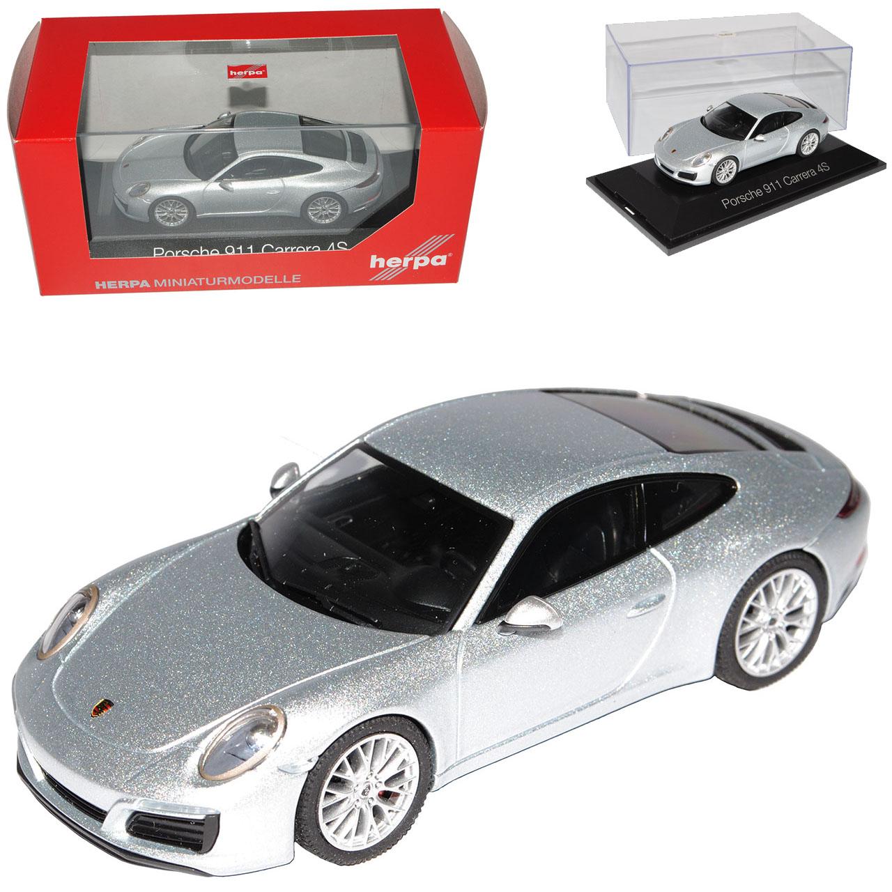 Porsche 911 991 Carrera 4 S Coupe argent modèle à partir de 2012 1 43 Herpa Modèle Voiture...