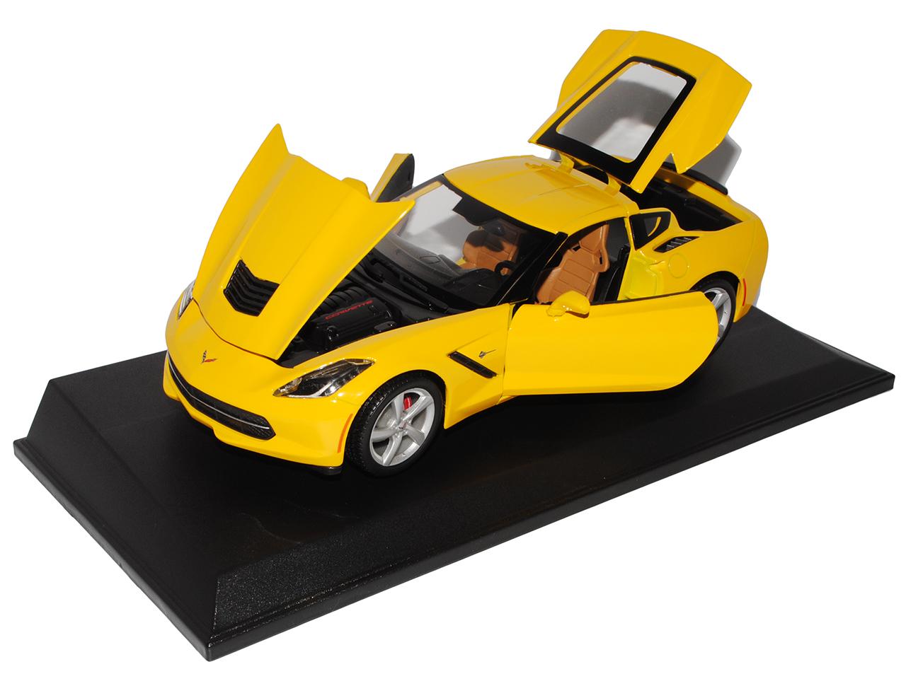 CHEVROLET-CHEVY-CORVETTE-c7-Stingray-Coupe-Jaune-a-partir-de-2013-1-18-MAISTO-Modele-Aut
